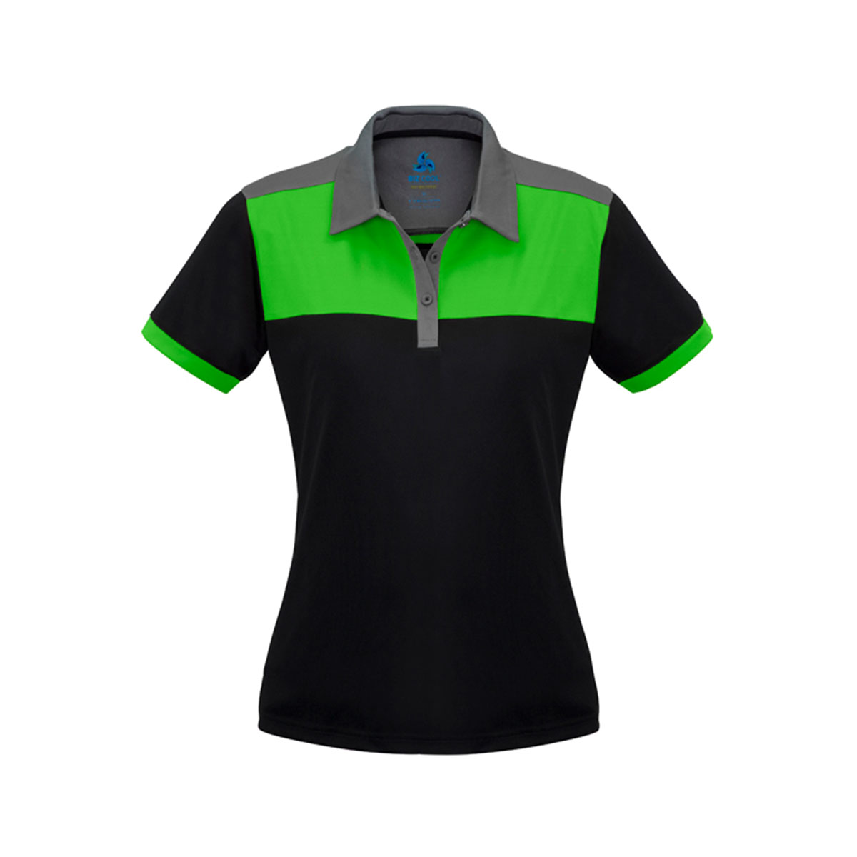 Ladies Charger Polo-Black / Green / Grey
