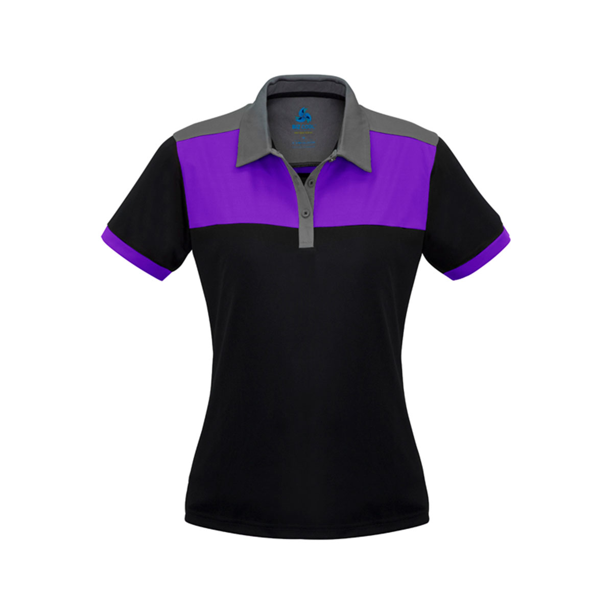 Ladies Charger Polo-Black / Purple / Grey