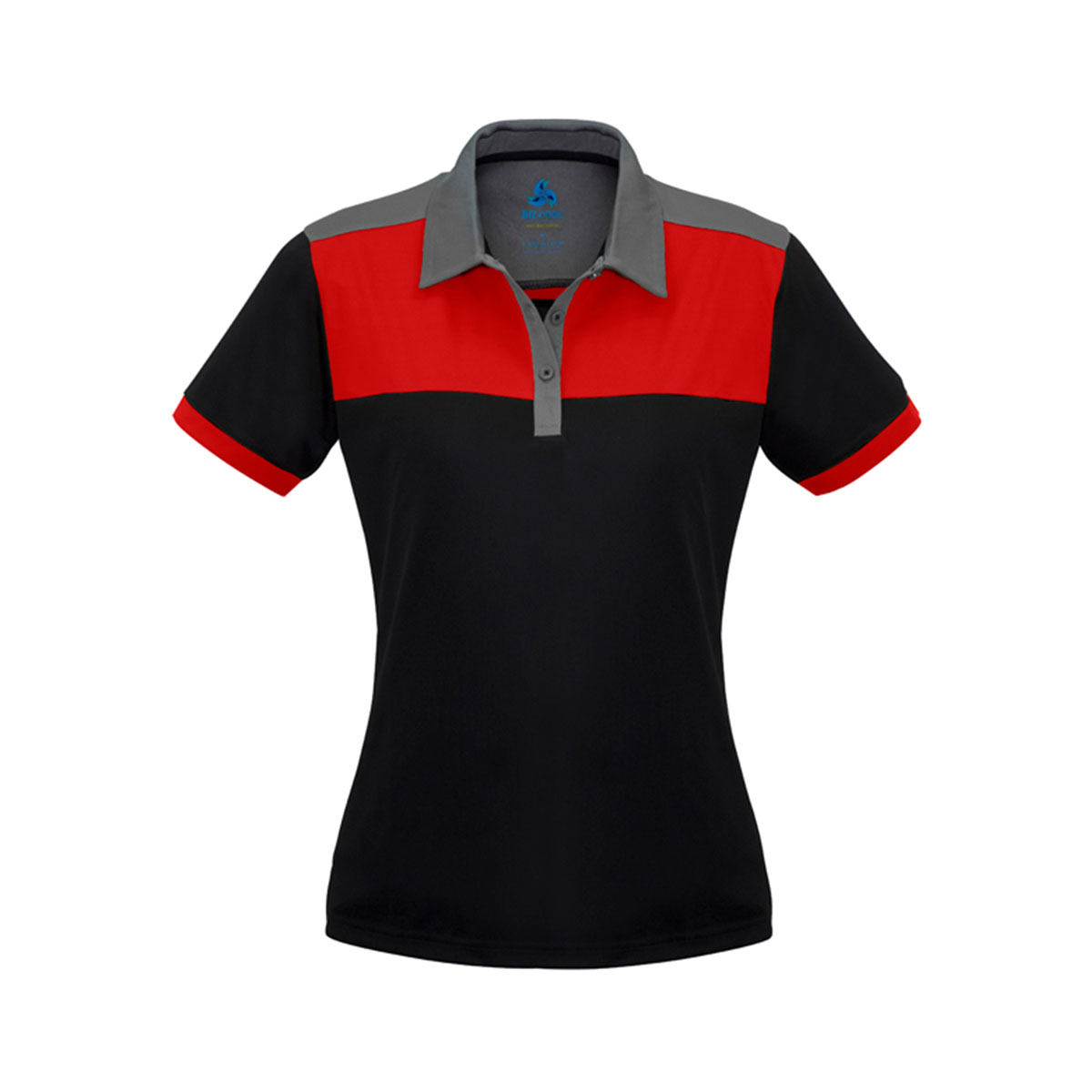Ladies Charger Polo-Black / Red / Grey