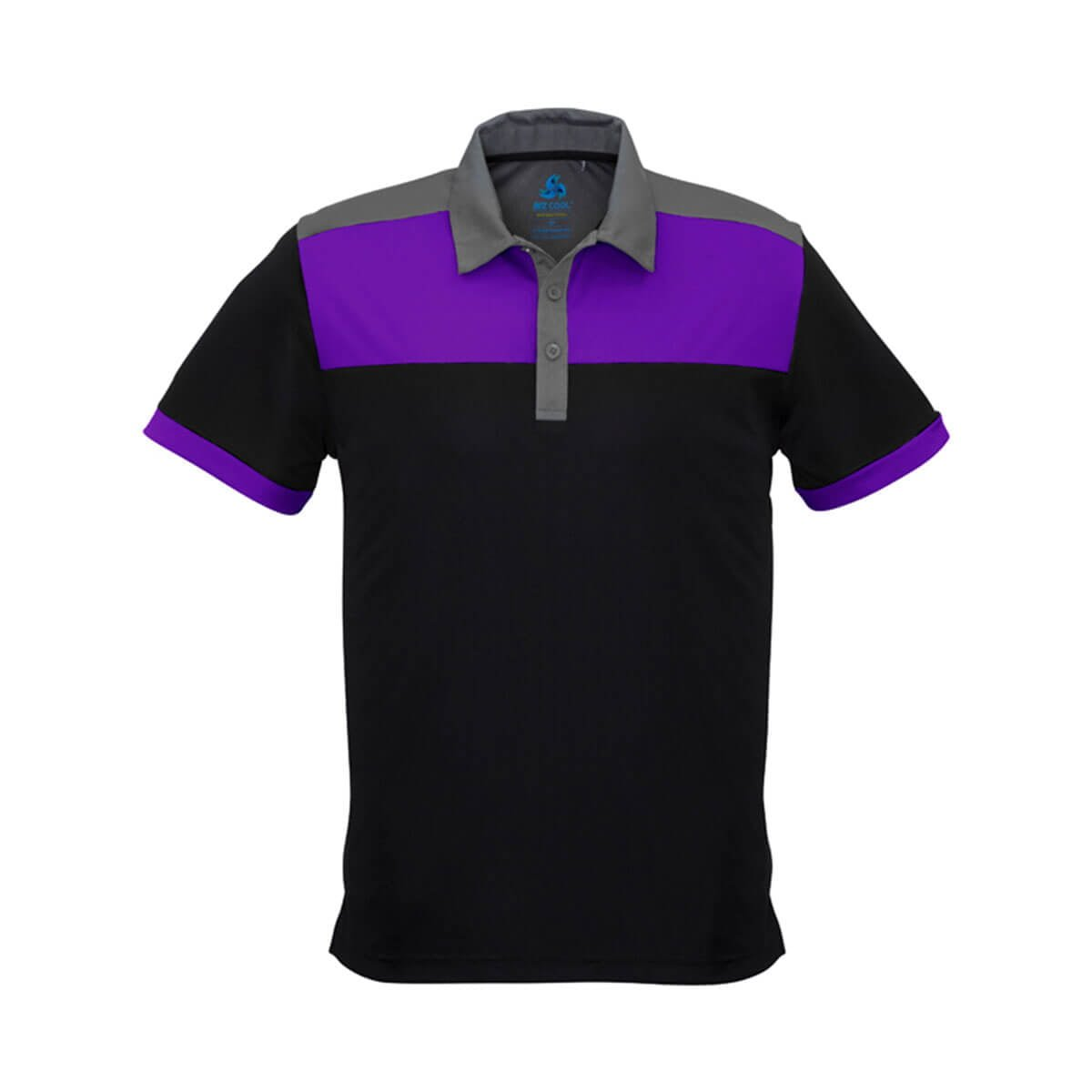 Mens Charger Polo-Black / Purple / Grey