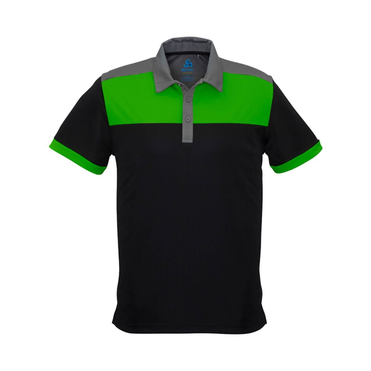 Mens Charger Polo-Black / Green / Grey