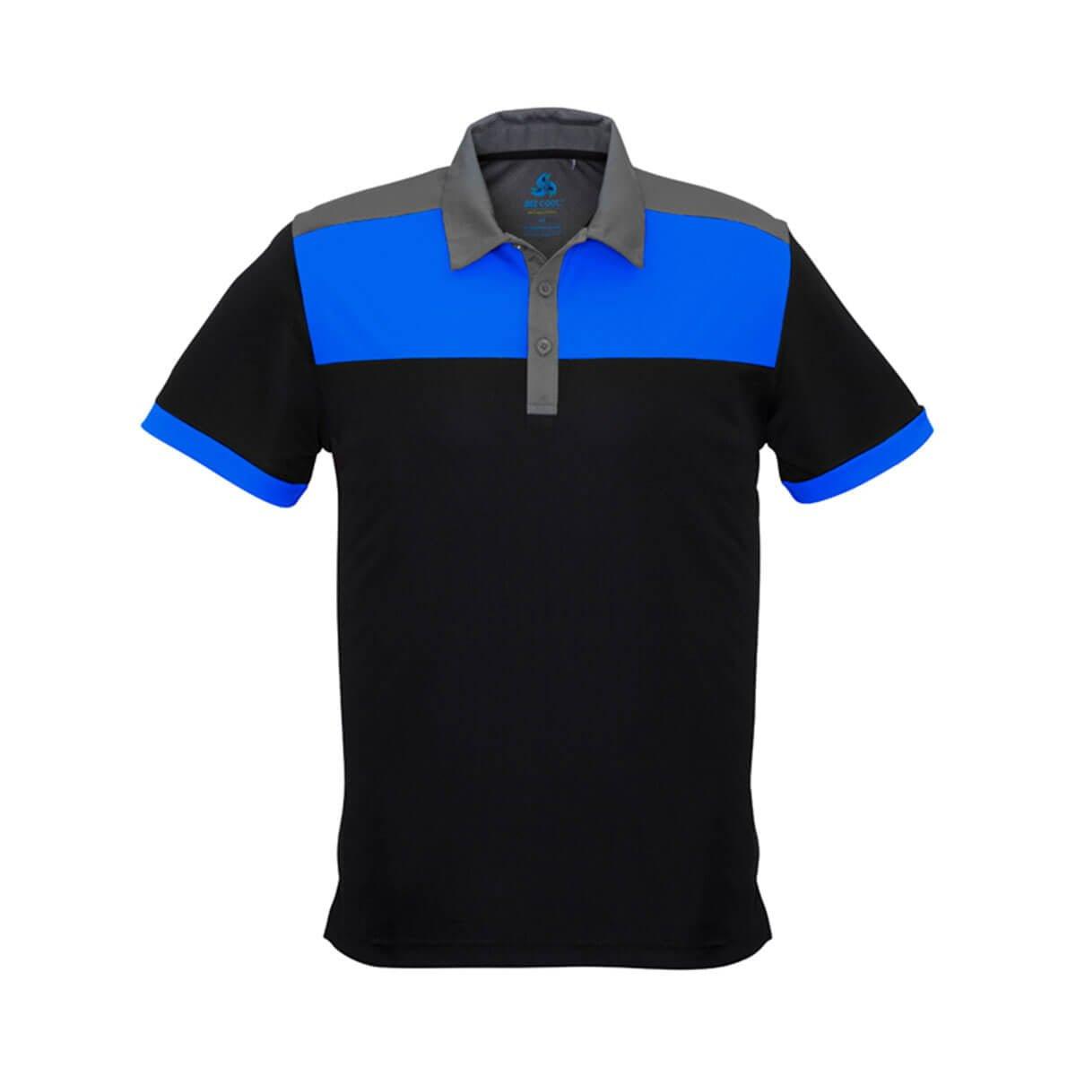 Mens Charger Polo-Black / Royal / Grey