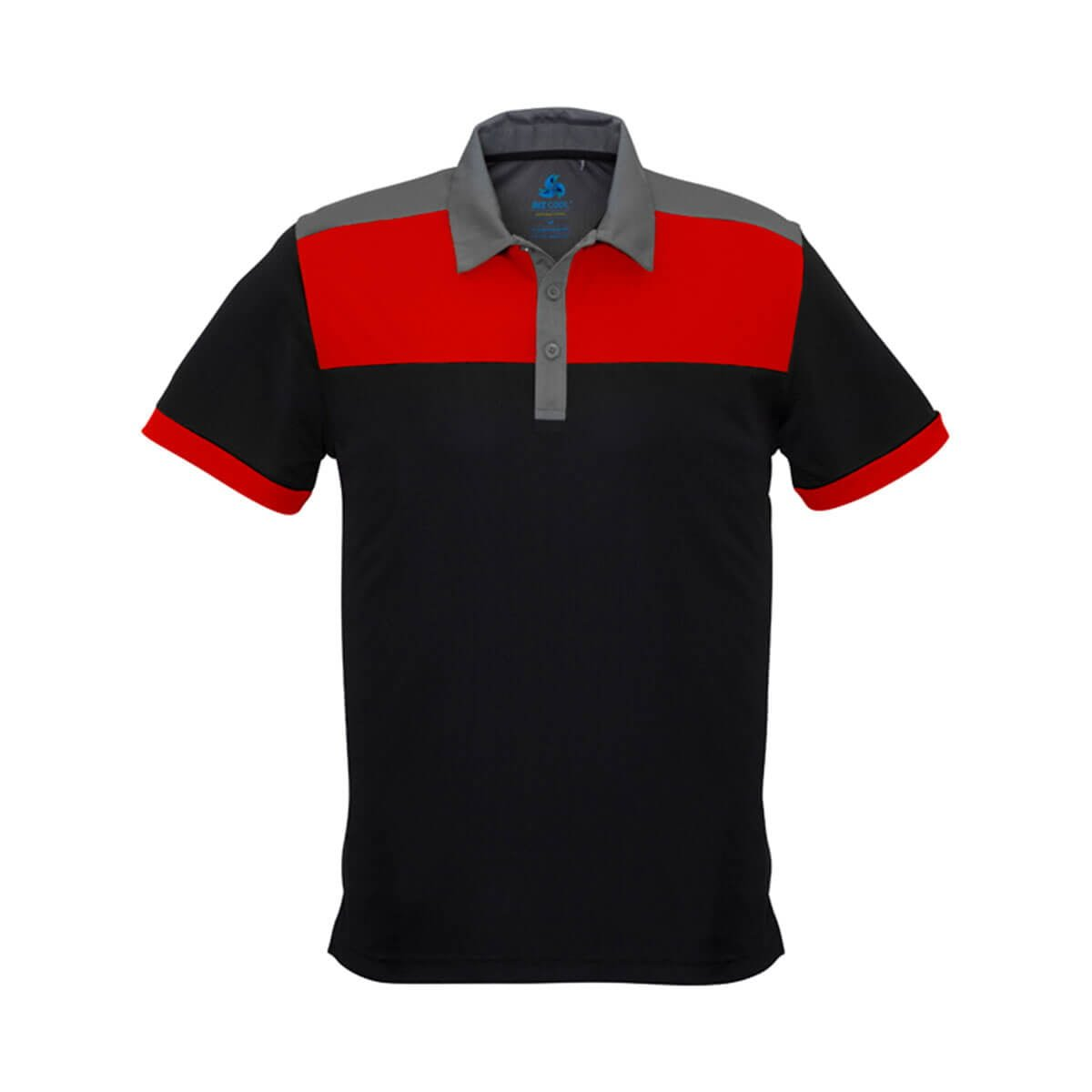Mens Charger Polo-Black / Red / Grey