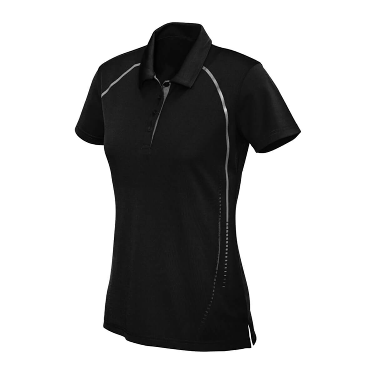 Ladies Cyber Polo-Black / Silver