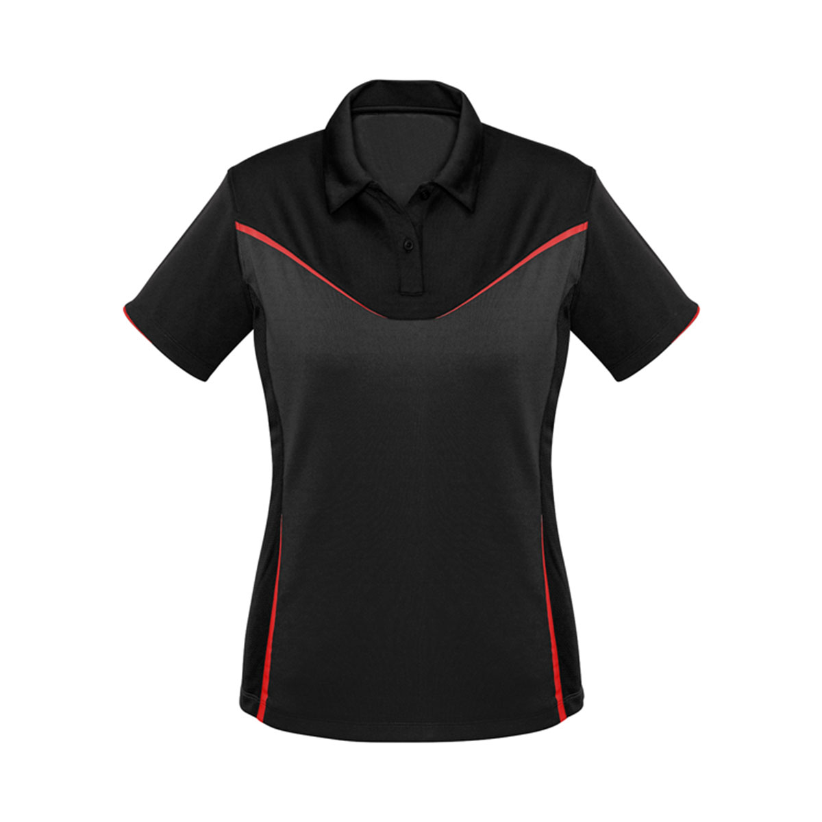 Ladies Victory Polo-Black / Grey / Red