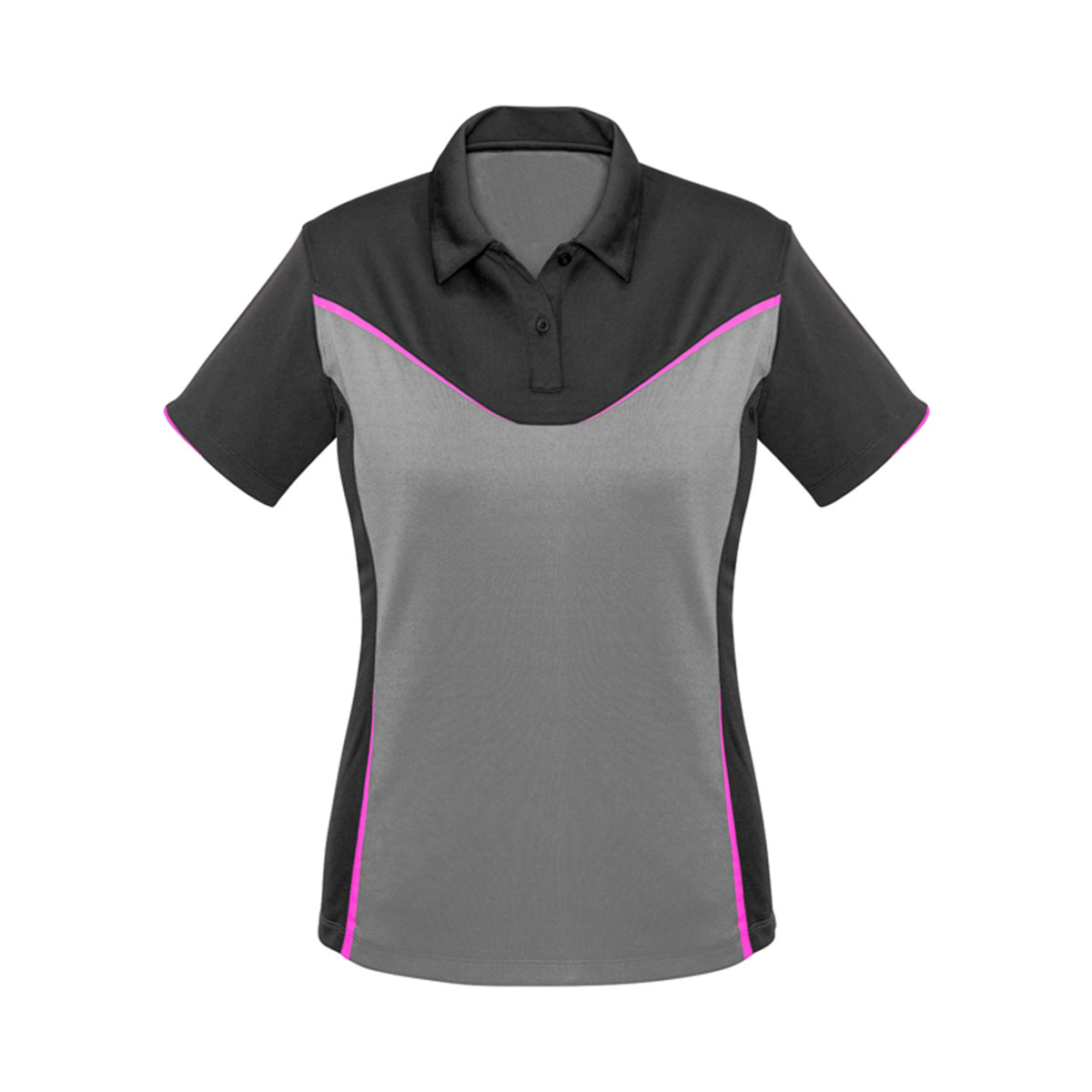 Ladies Victory Polo-Grey / Silver / Fluoro Pink