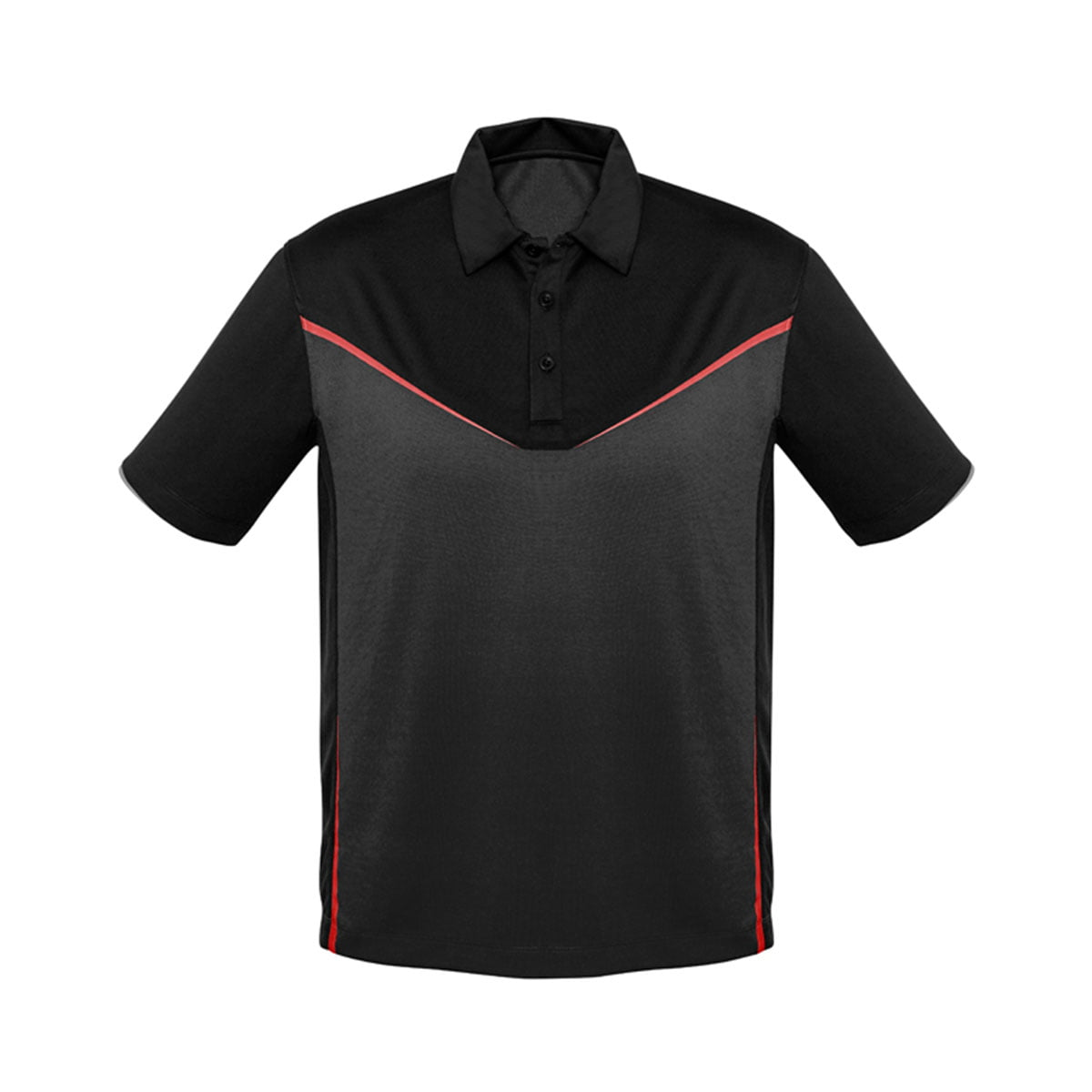 Mens Victory Polo-Black / Grey / Red