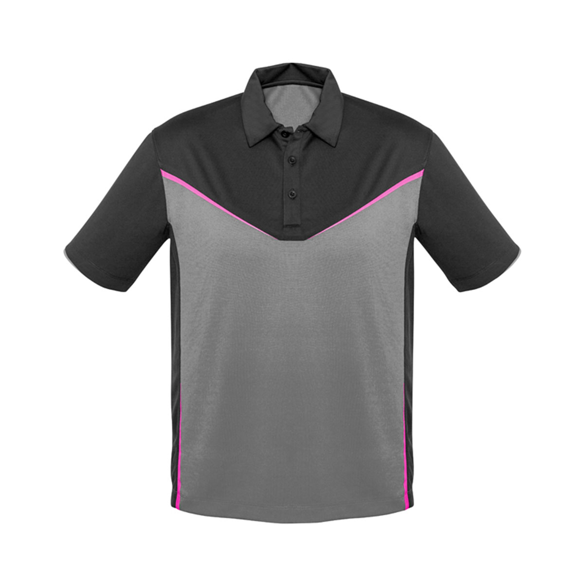 Mens Victory Polo-Grey / Silver / Fluoro Pink