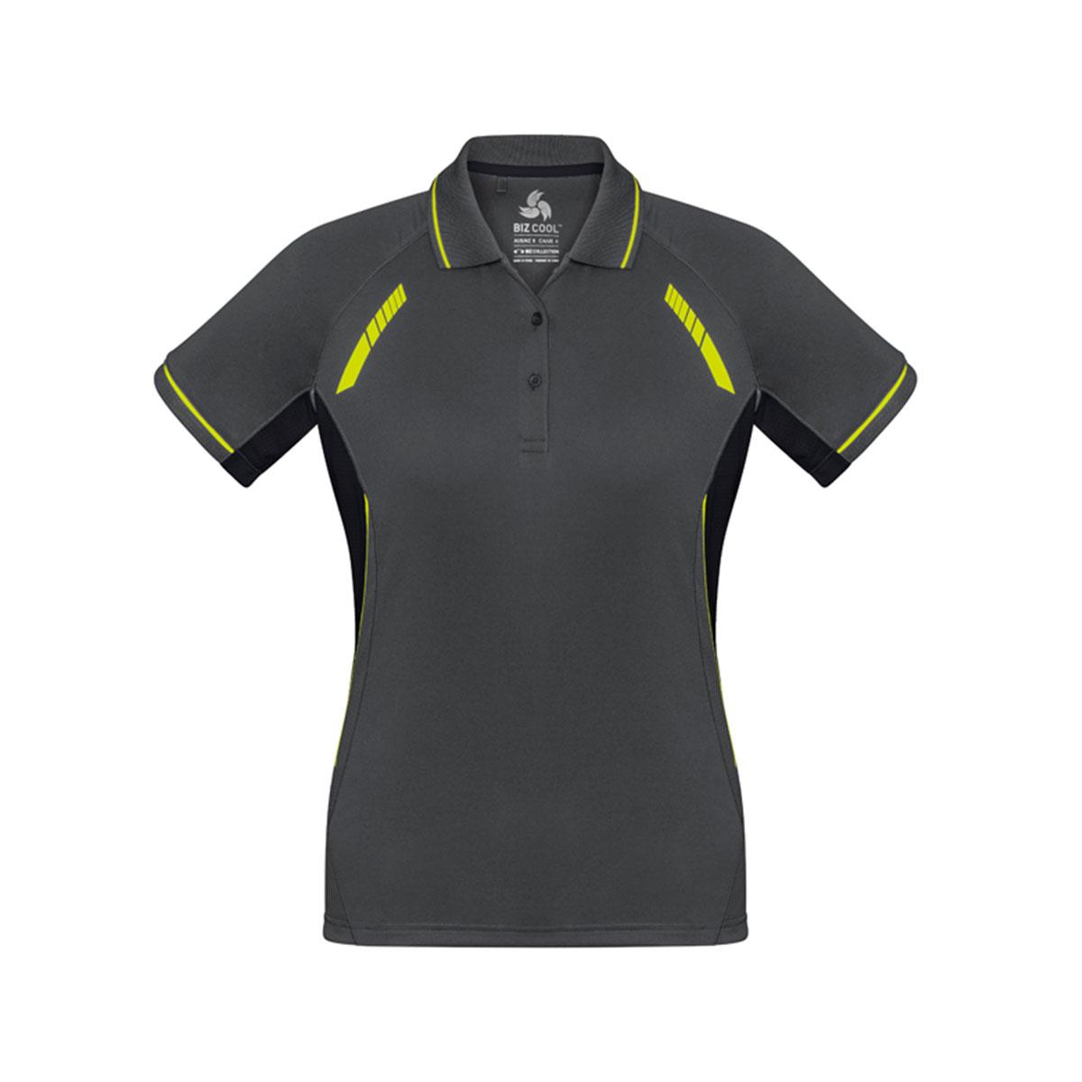 Ladies Renegade Polo-Grey / Black / Fluoro Yellow