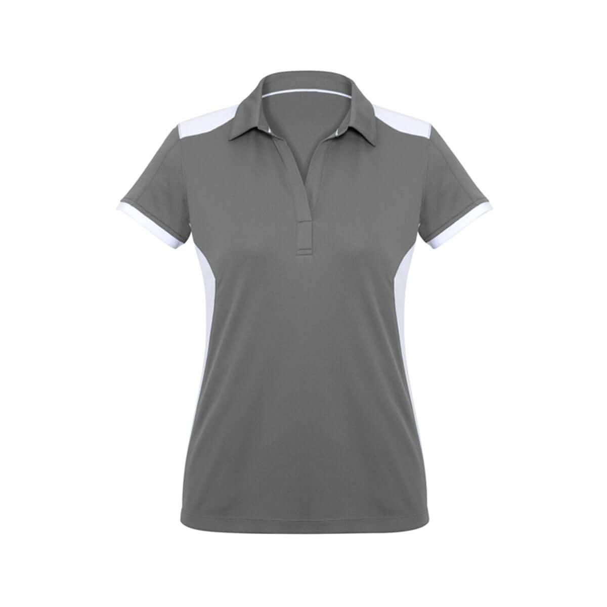 Ladies Rival Polo-Silver / White
