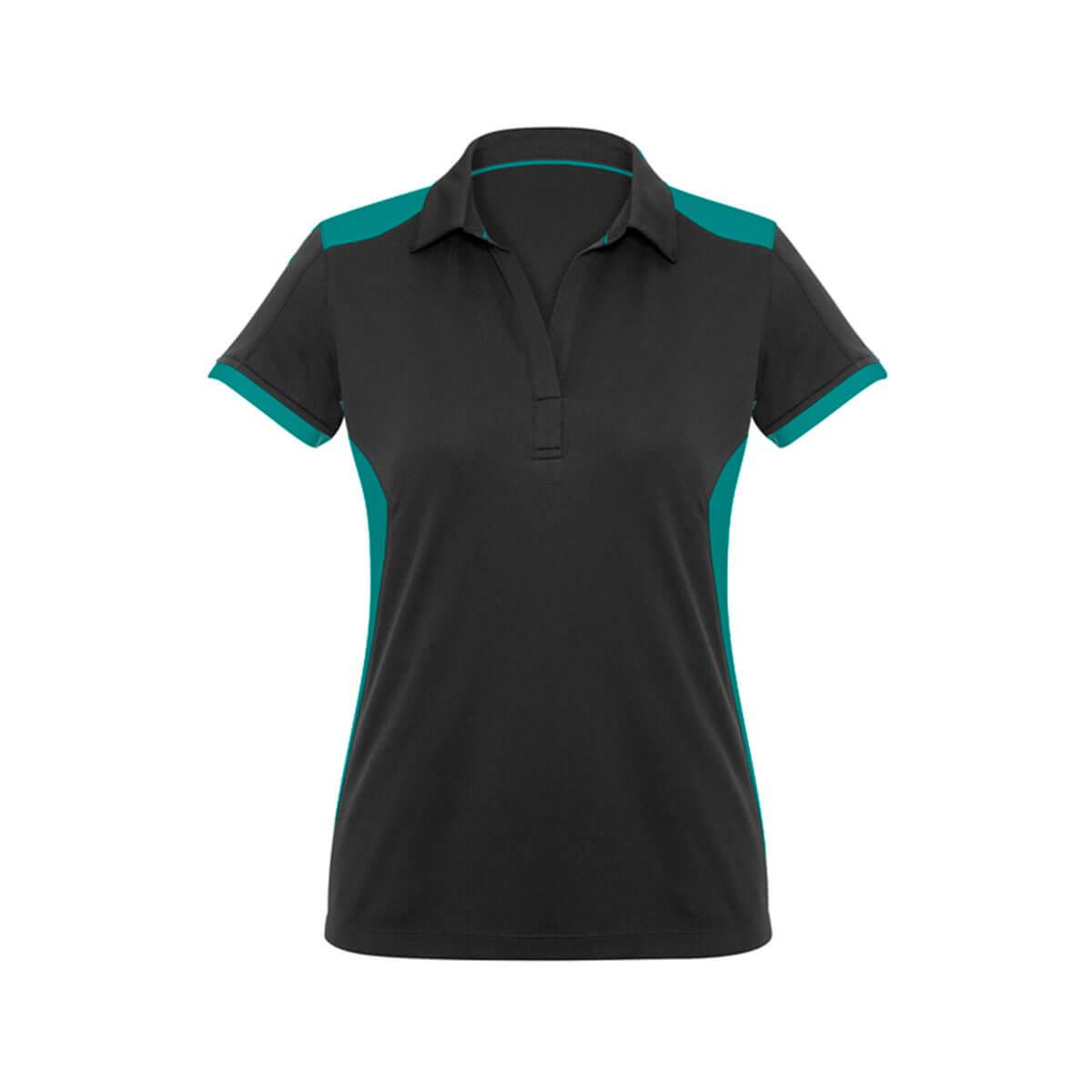 Ladies Rival Polo-Black / Teal