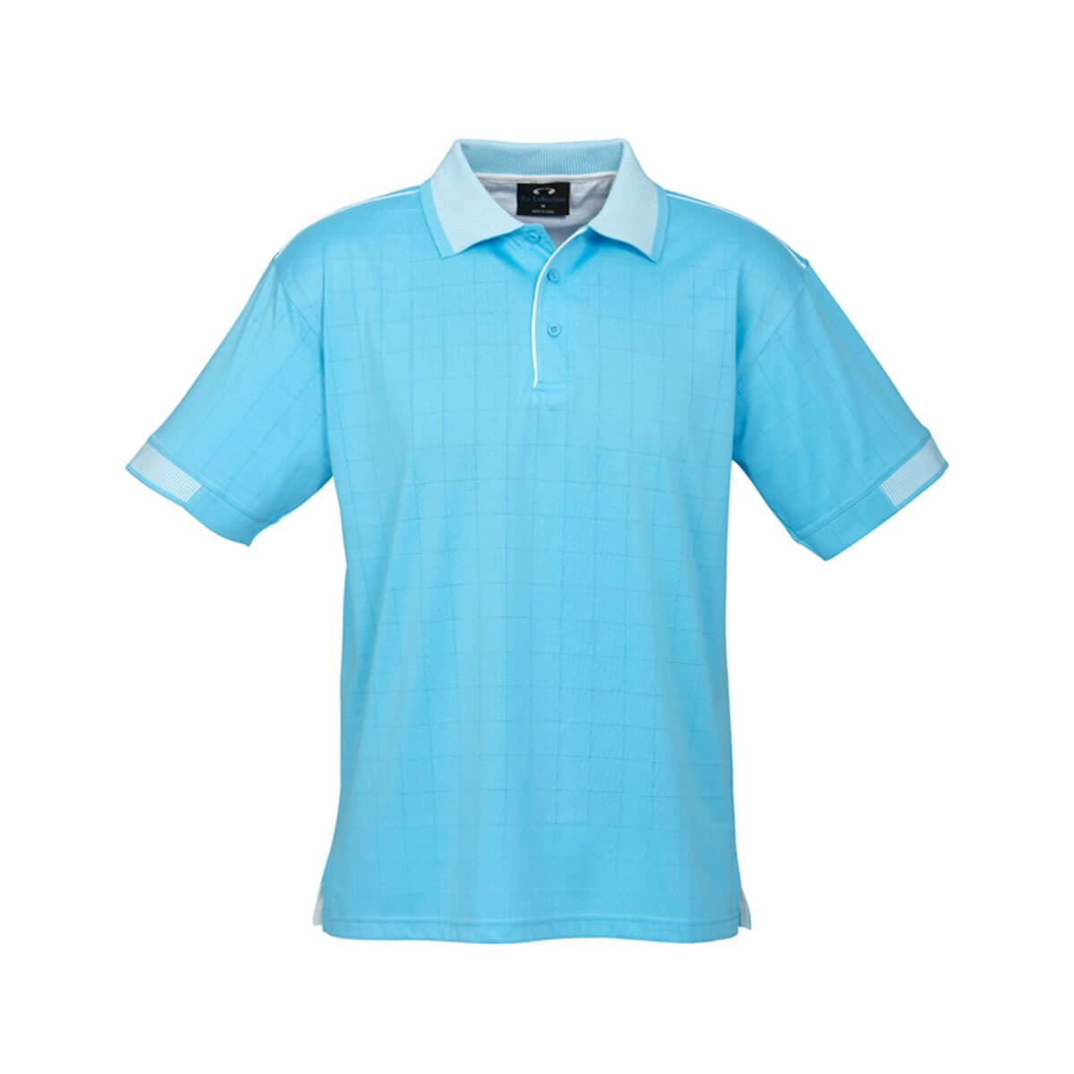 Mens Noosa Self Check Polo-Aqua Blue / White