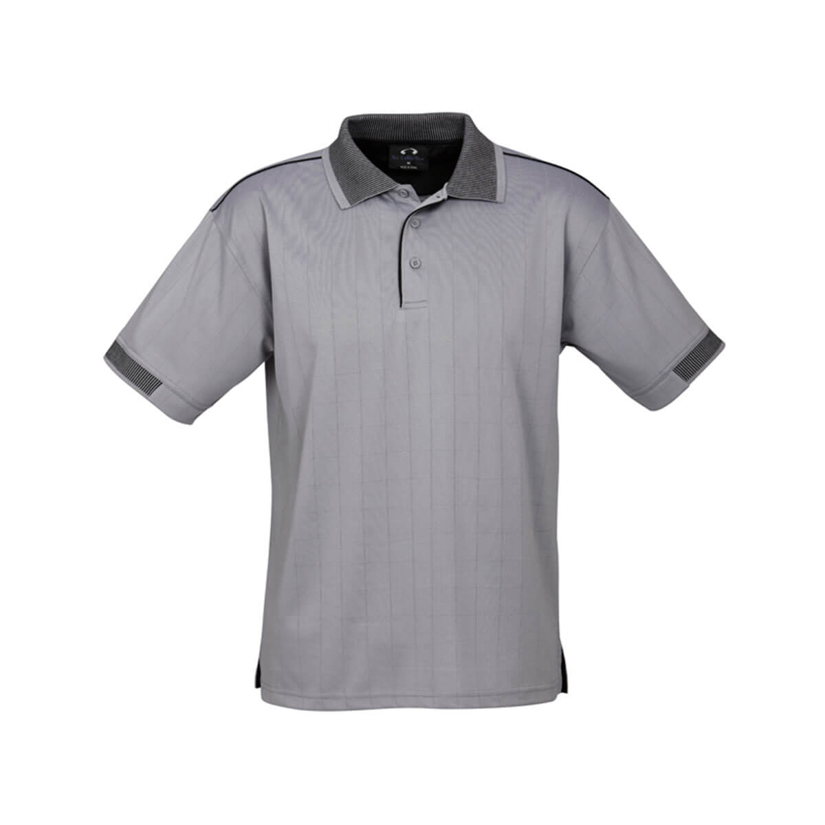 Mens Noosa Self Check Polo-Silver Grey / Black