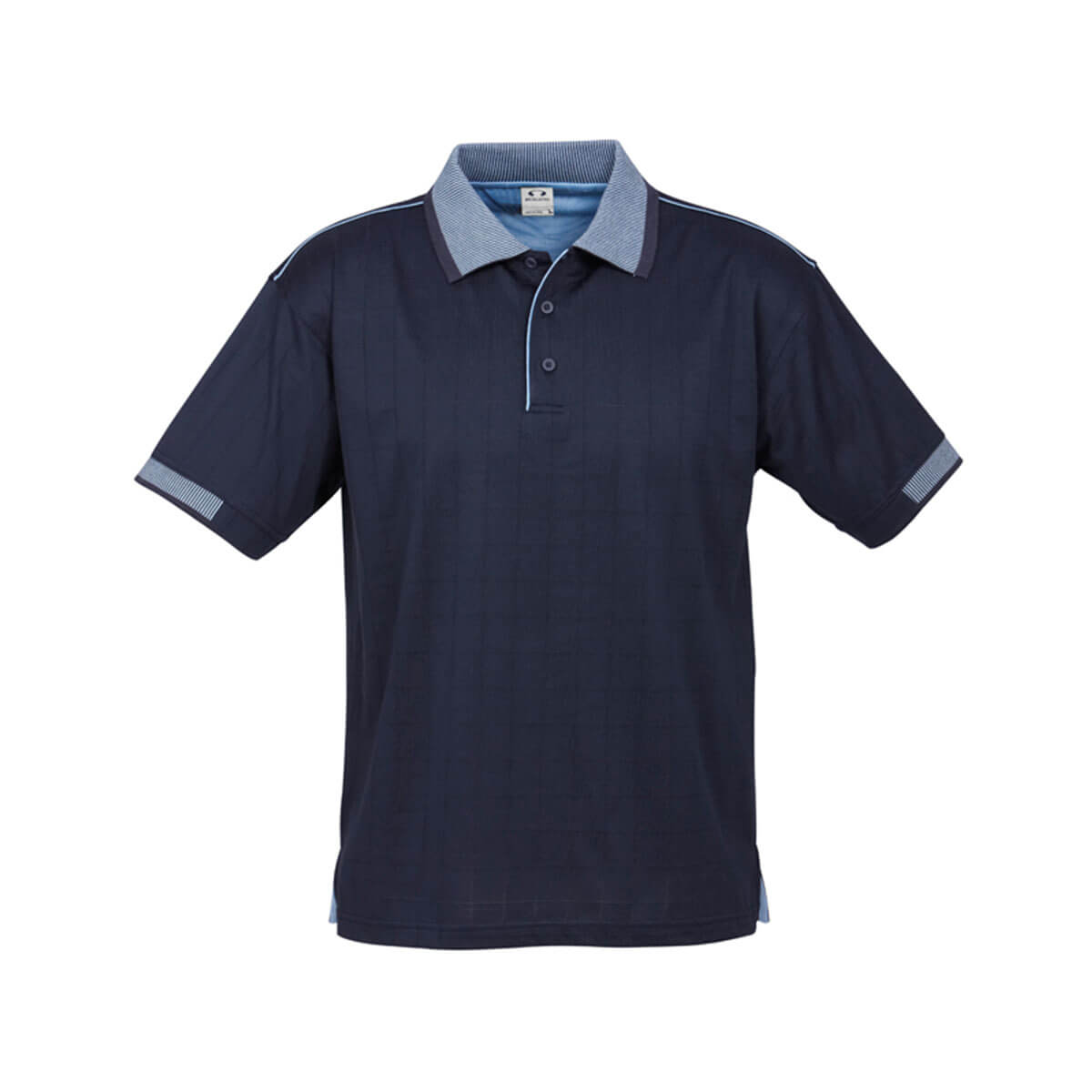 Mens Noosa Self Check Polo-Navy / Spring Blue