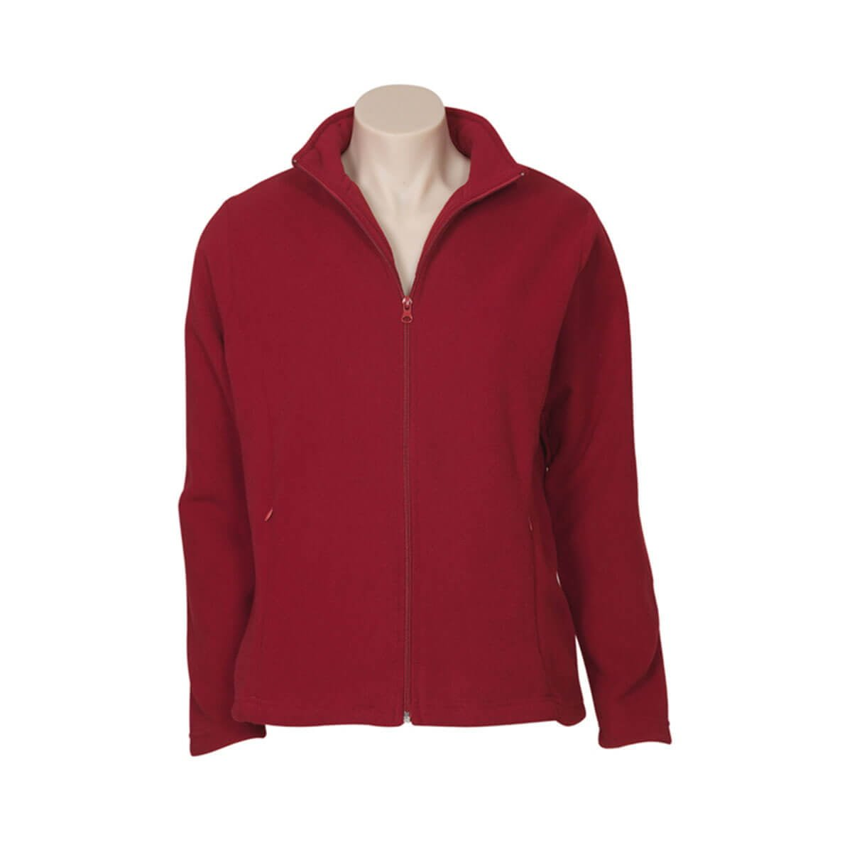 Ladies Plain Micro Fleece Jacket-Red