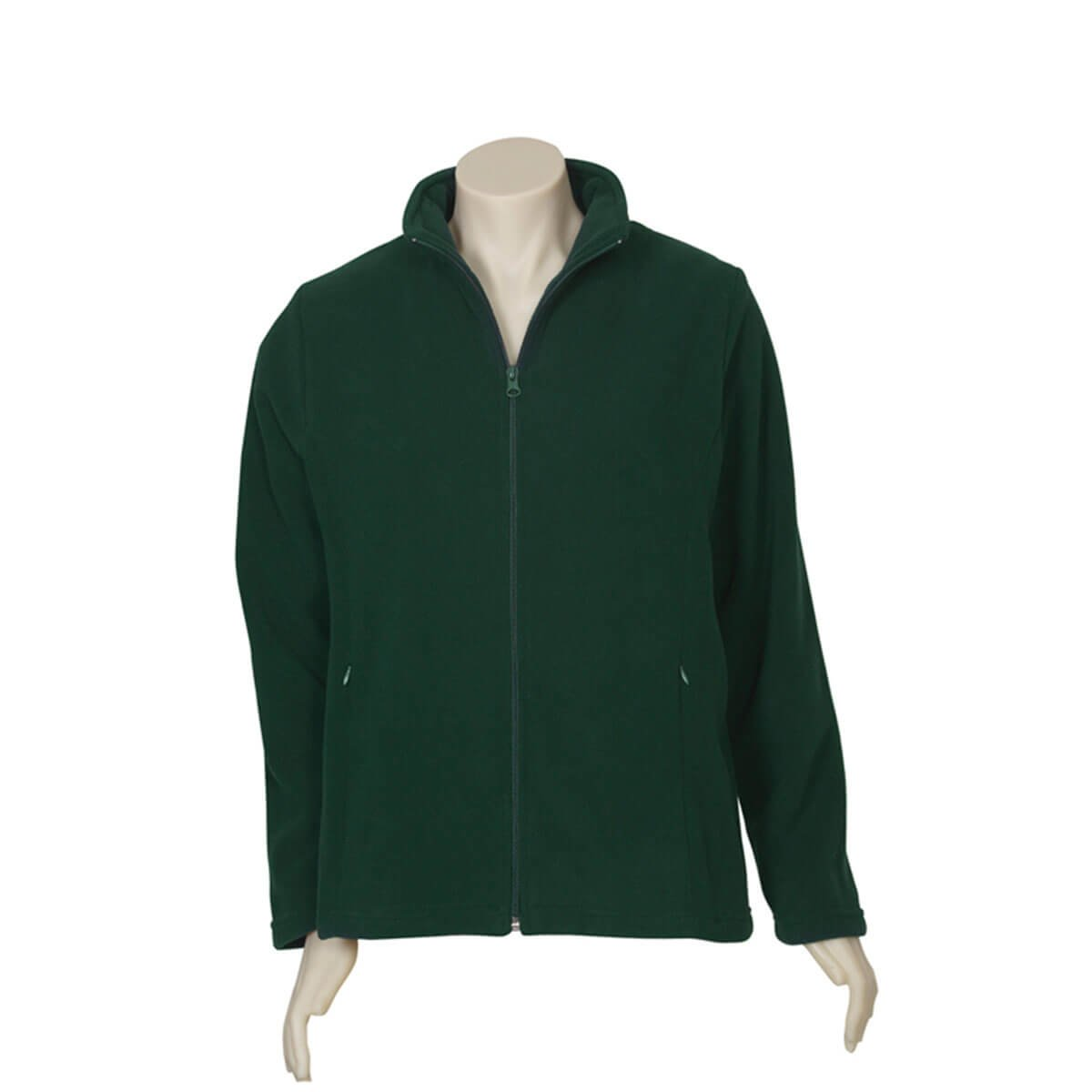 Ladies Plain Micro Fleece Jacket-Forest