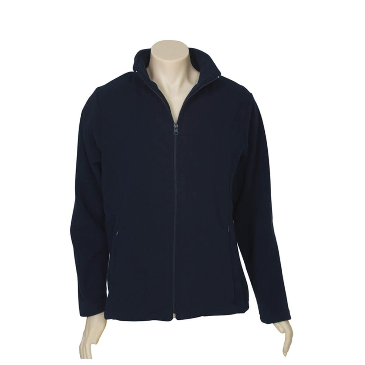 Ladies Plain Micro Fleece Jacket-Navy