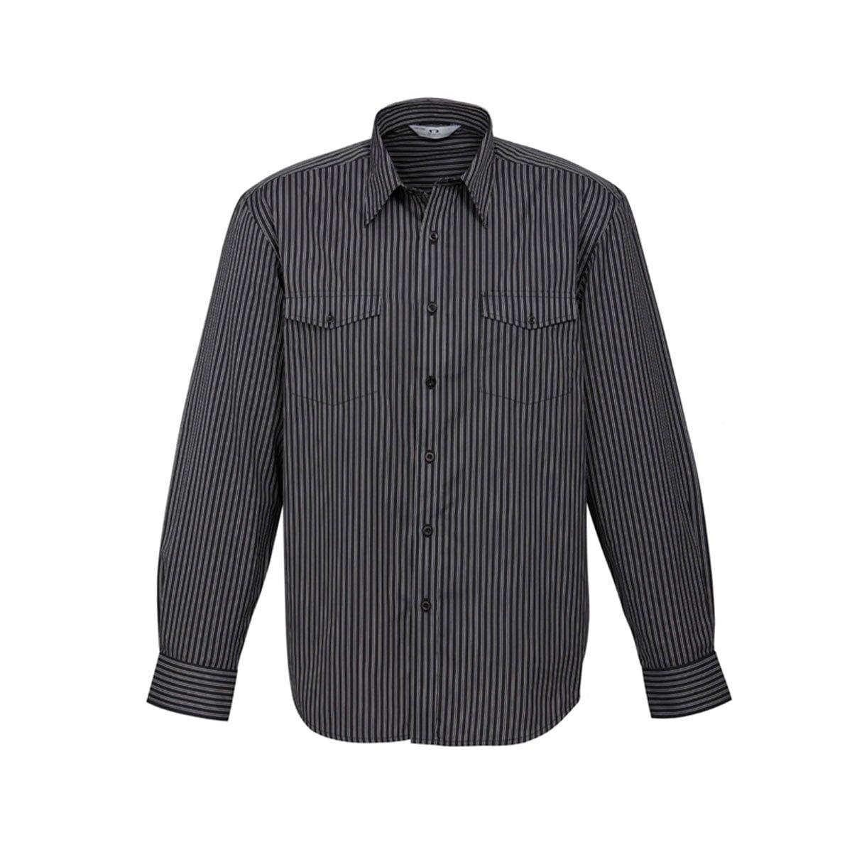 Mens Cuban Long Sleeve Shirt-Black / Silver