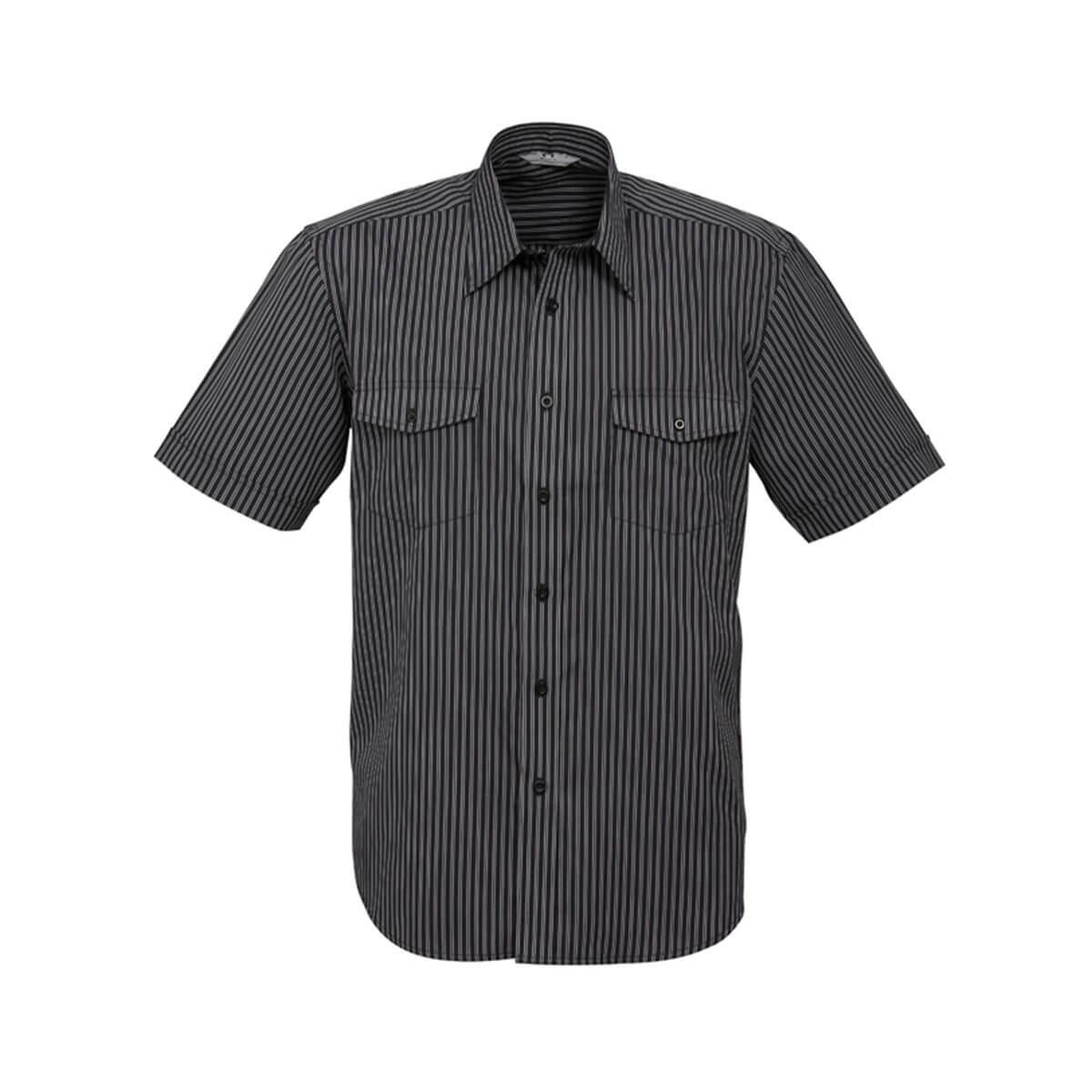 Mens Cuban Short Sleeve Shirt-Black / Silver