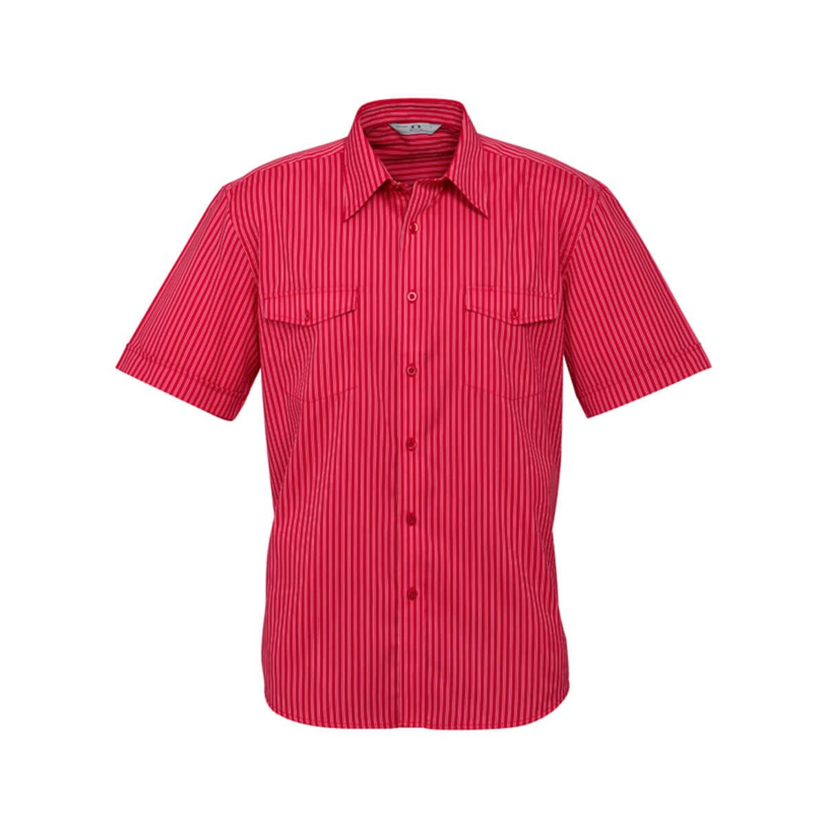 Mens Cuban Short Sleeve Shirt-Red / Silver