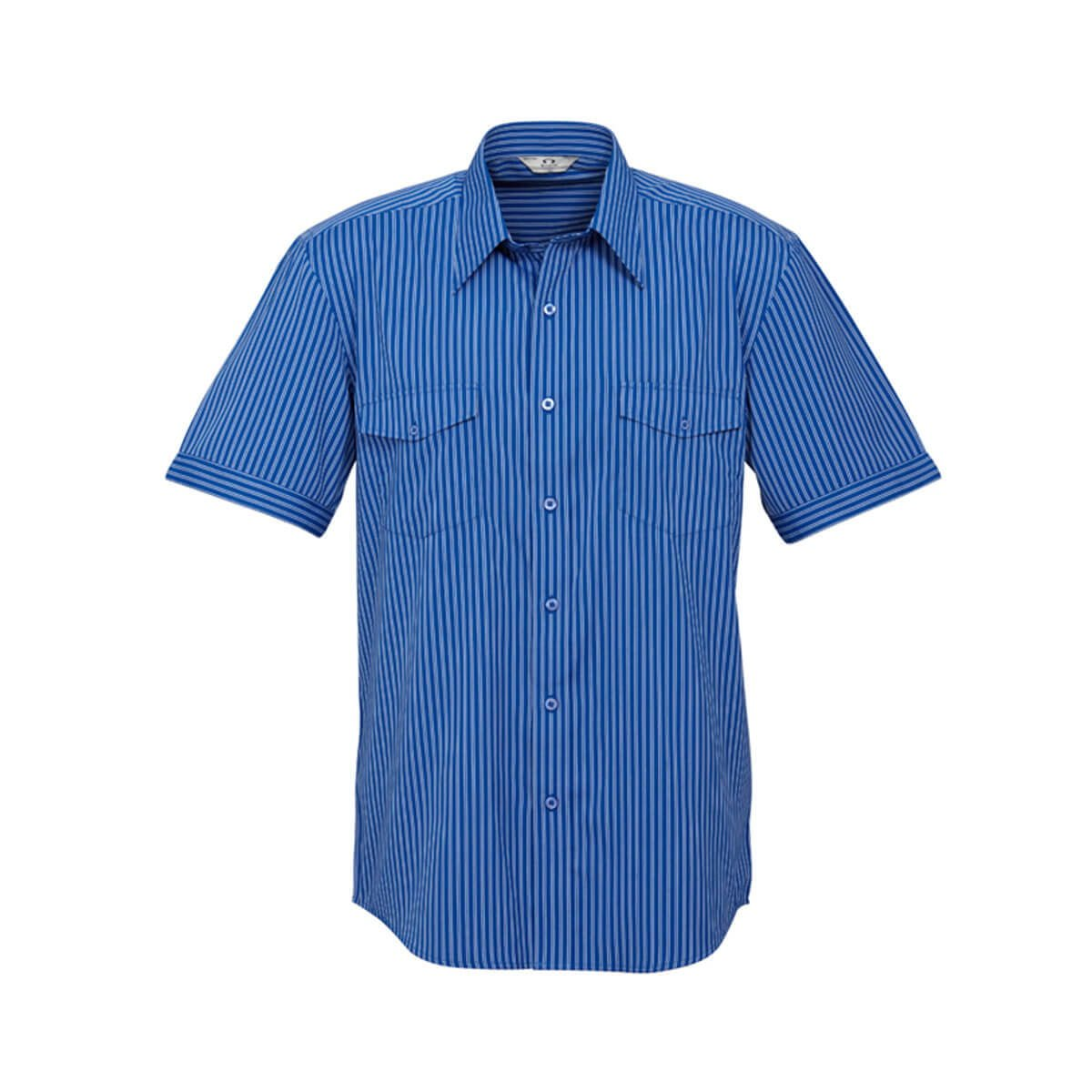 Mens Cuban Short Sleeve Shirt-Indigo / Silver