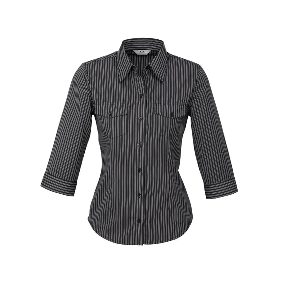 Ladies Cuban 3/4 Sleeve Shirt-Black / Silver