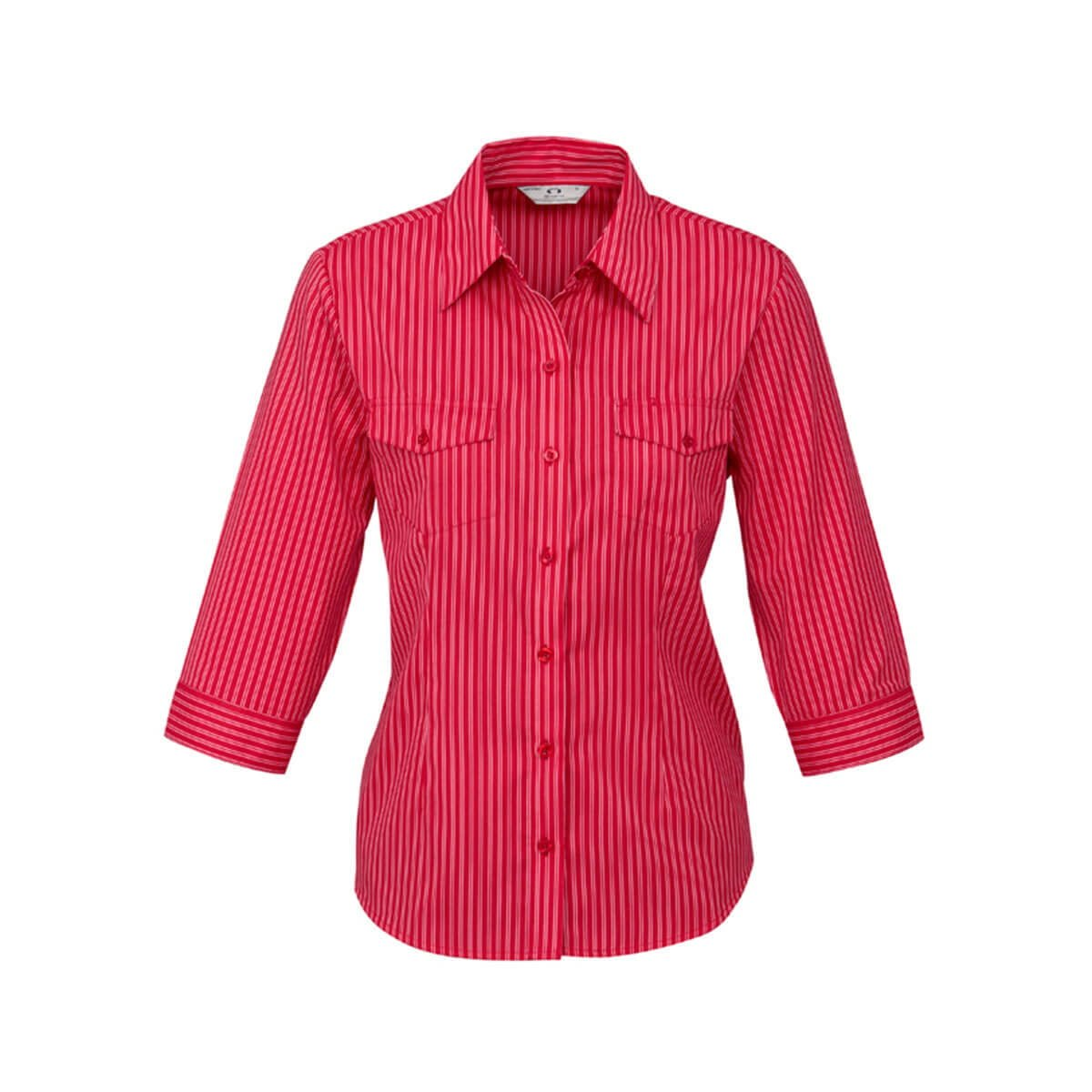Ladies Cuban 3/4 Sleeve Shirt-Red / Silver
