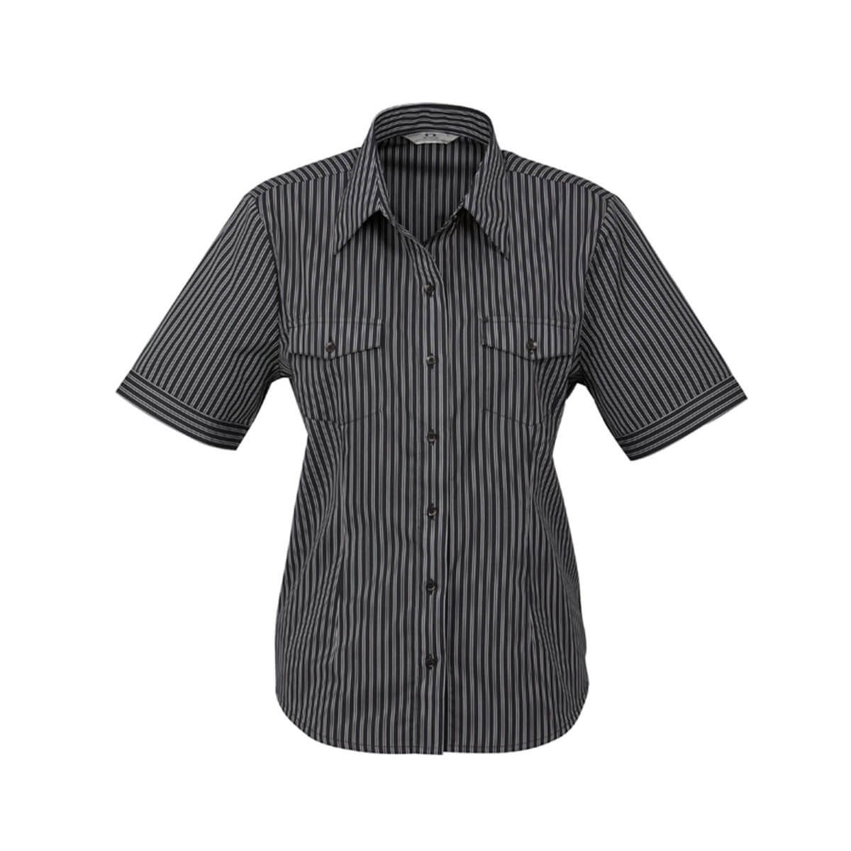 Ladies Cuban Short Sleeve Shirt-Black / Silver