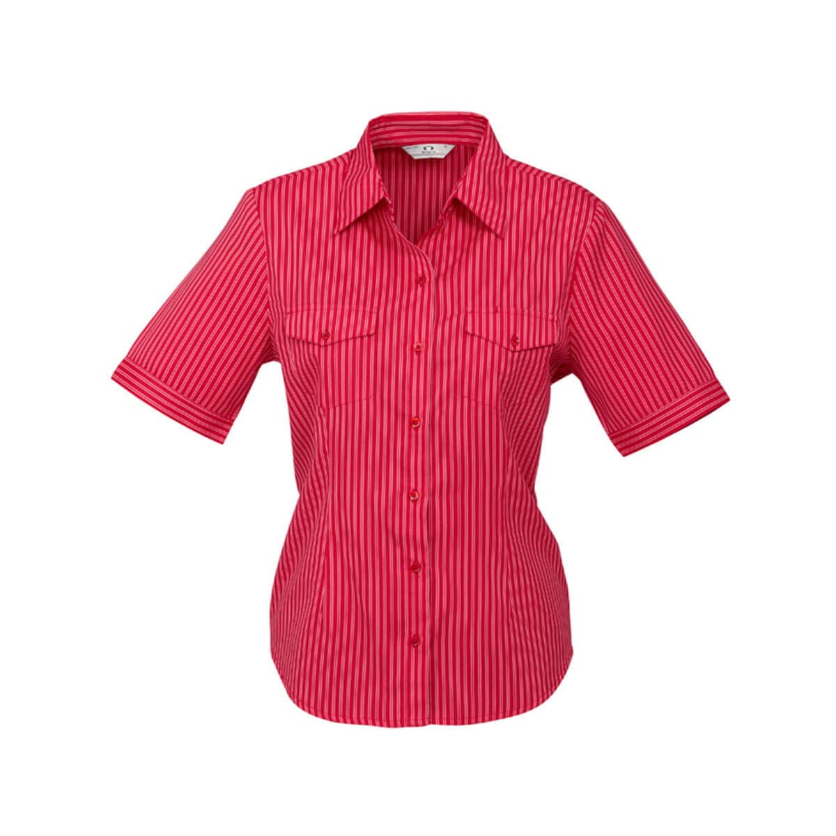 Ladies Cuban Short Sleeve Shirt-Red / Silver