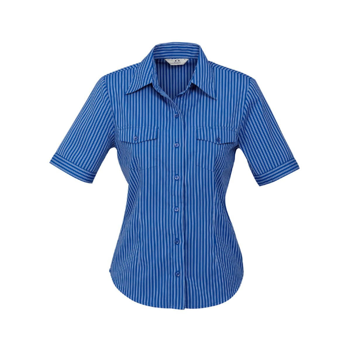 Ladies Cuban Short Sleeve Shirt-Indigo / Silver