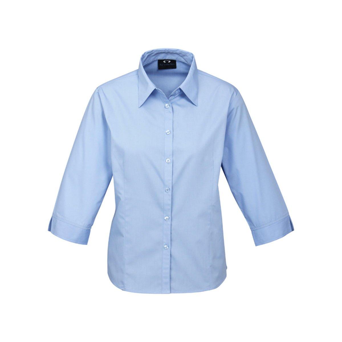 Ladies Base 3/4 Sleeve Shirt-Light Blue