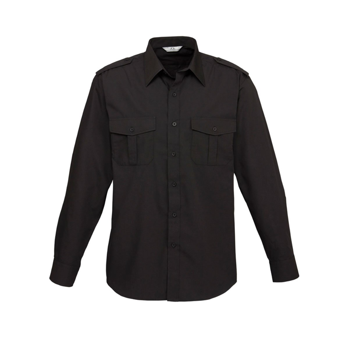 Mens Epaulette Long Sleeve Shirt-Black