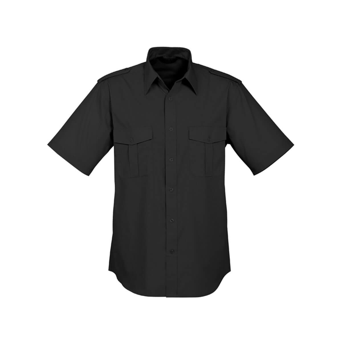 Mens Epaulette Short Sleeve Shirt-Black