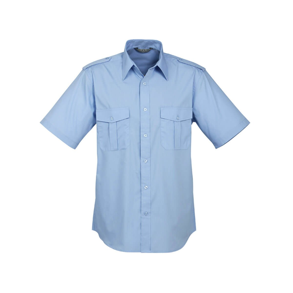 Mens Epaulette Short Sleeve Shirt-Light Blue