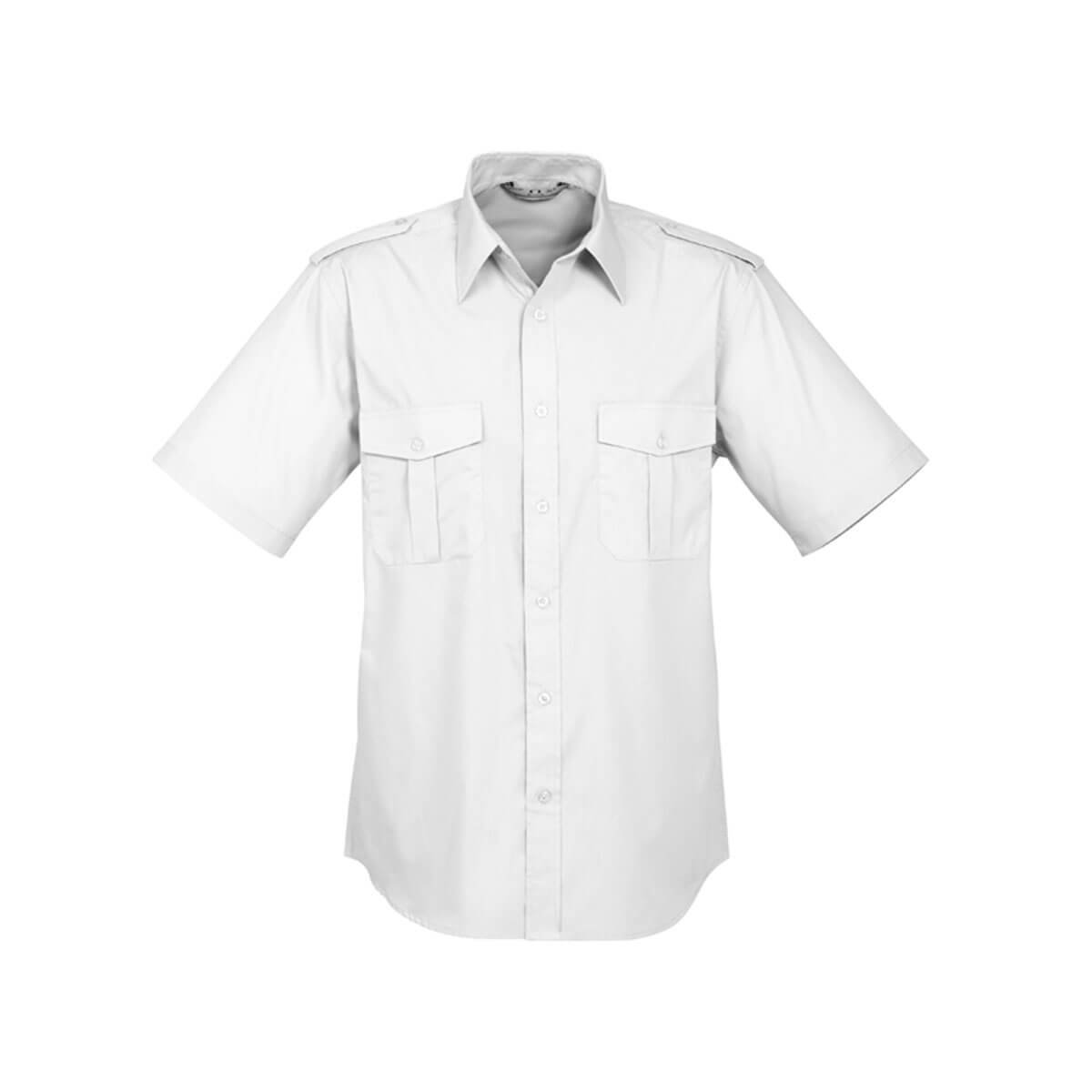 Mens Epaulette Short Sleeve Shirt-White