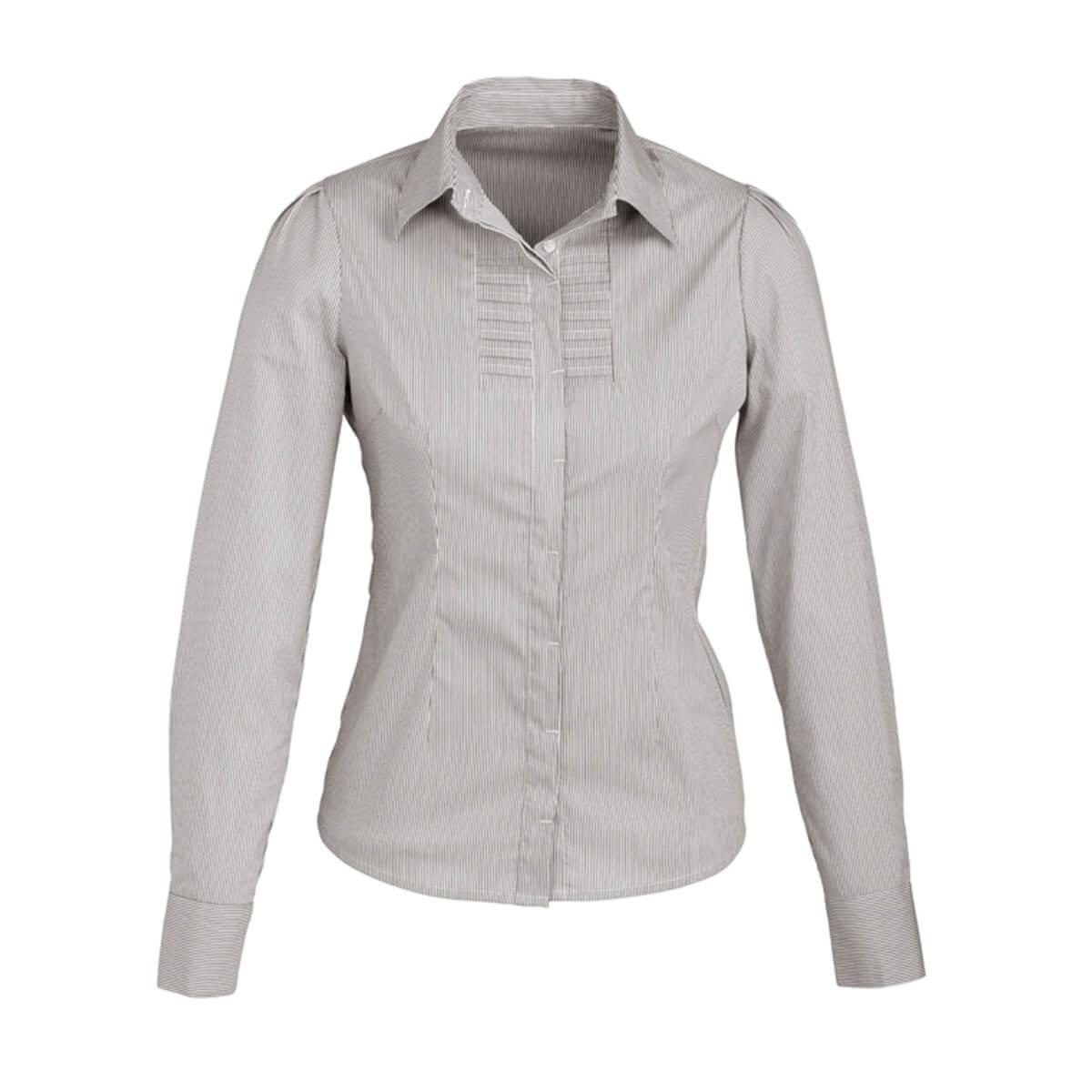 Ladies Berlin Long Sleeve Shirt-Graphite Stripe