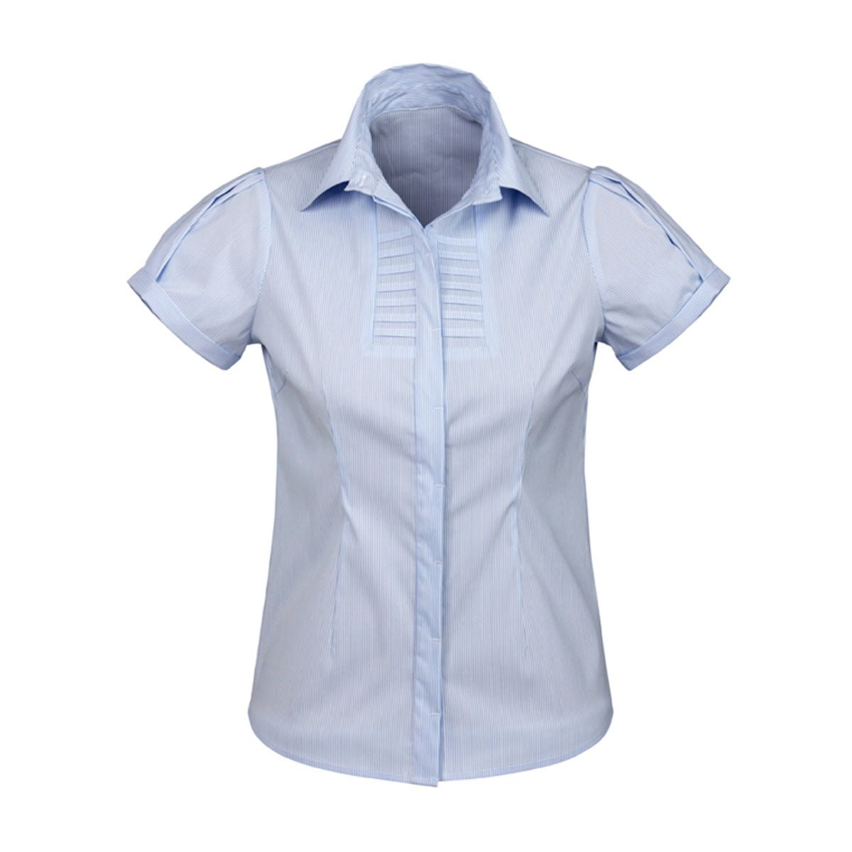 Ladies Berlin Short Sleeve Shirt-Blue Stripe