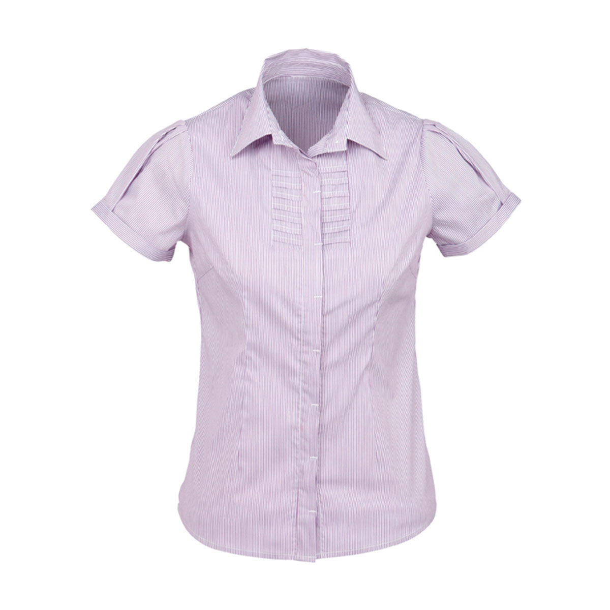 Ladies Berlin Short Sleeve Shirt-Grape Stripe