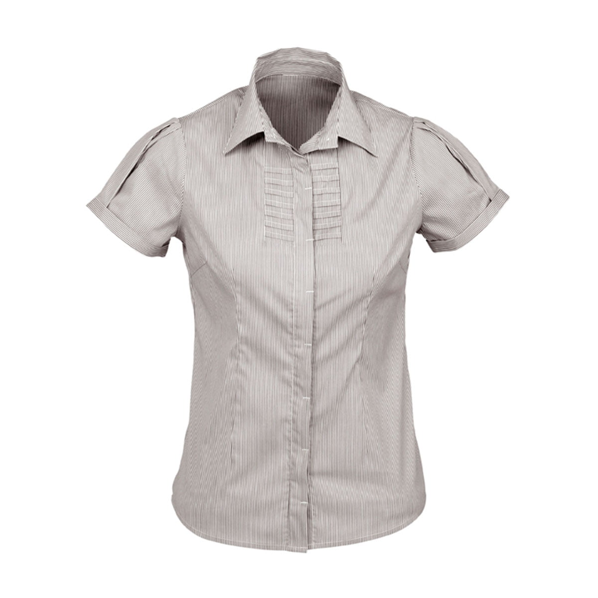Ladies Berlin Short Sleeve Shirt-Graphite Stripe