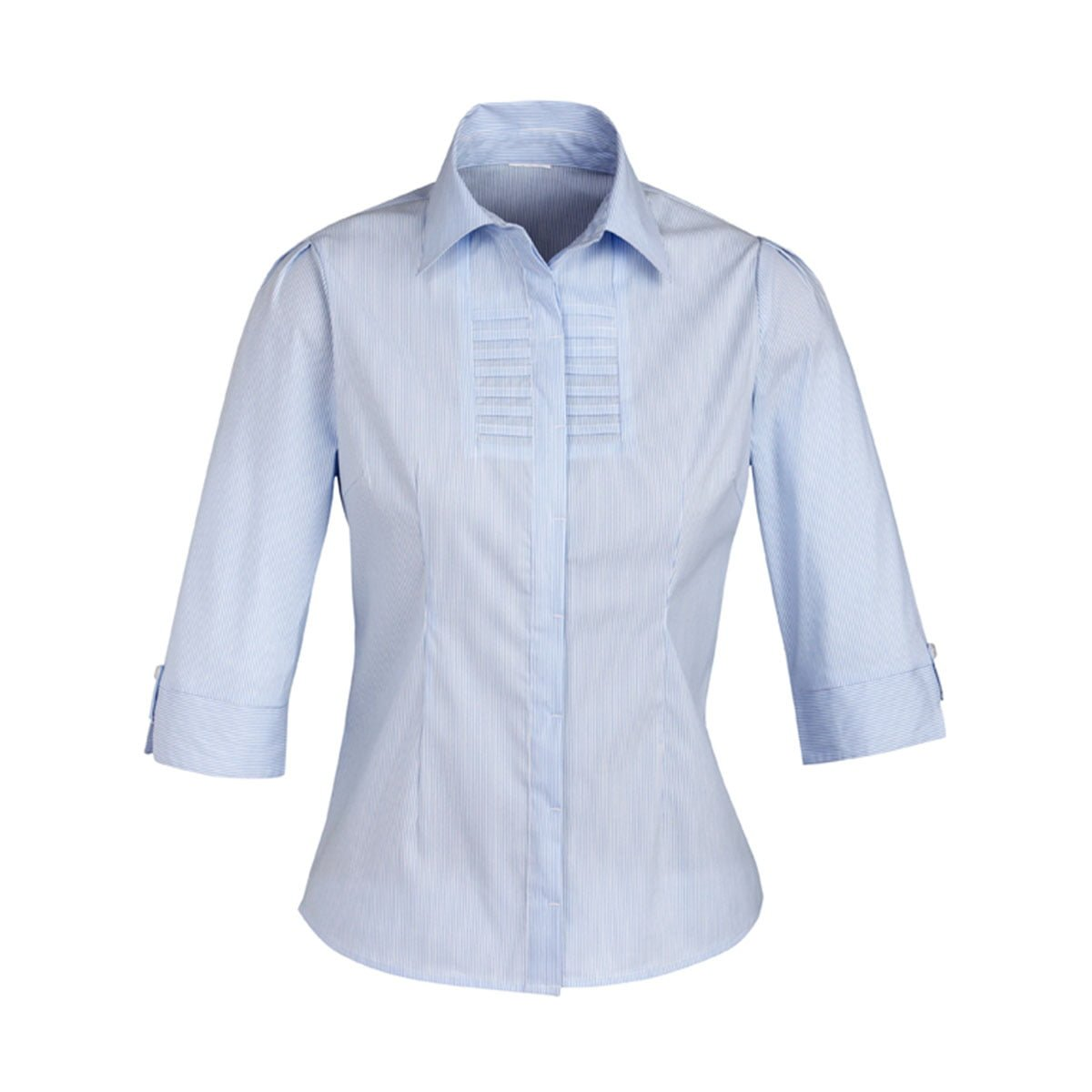 Ladies Berlin 3/4 Sleeve Shirt-Blue Stripe