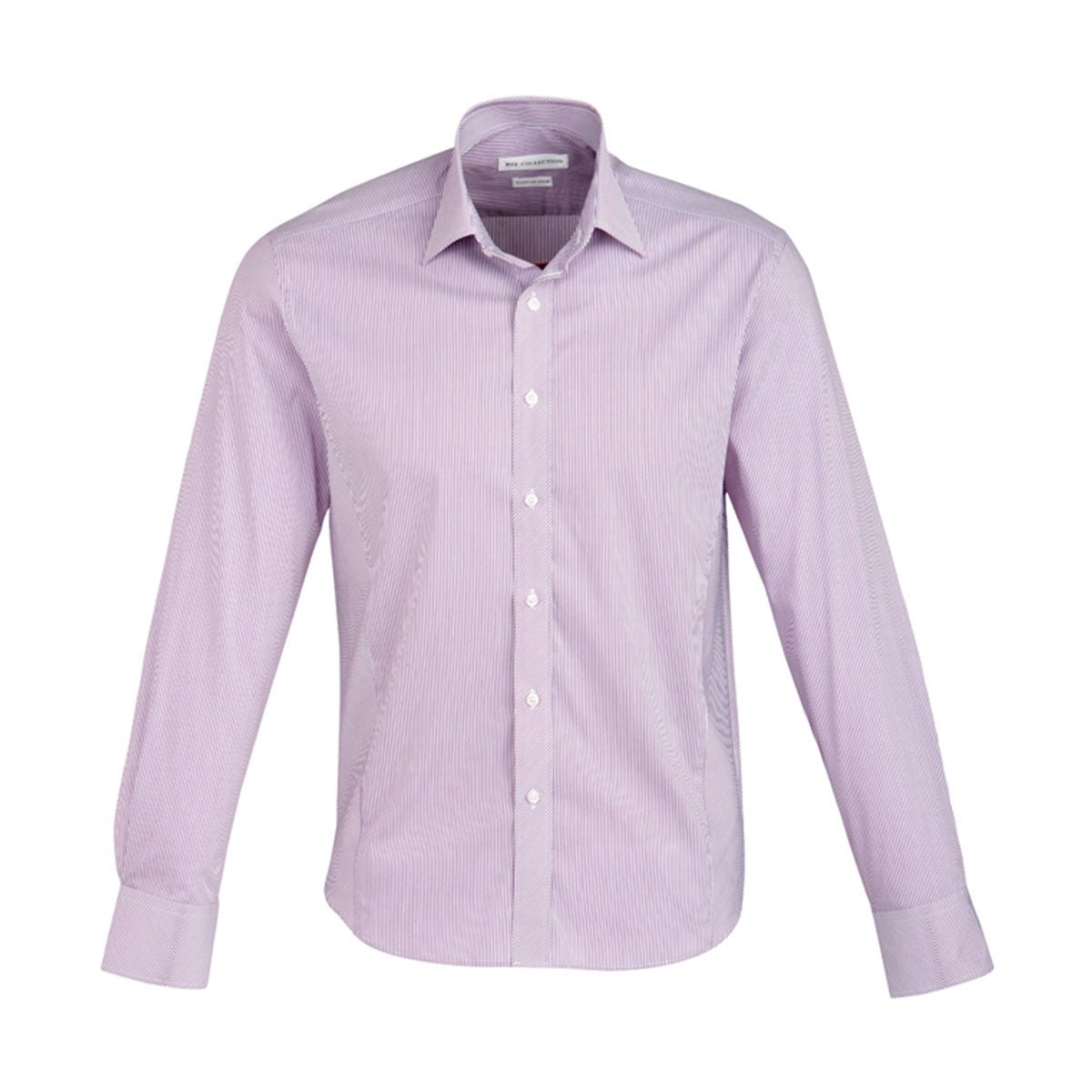 Mens Berlin Long Sleeve Shirt-Grape Stripe