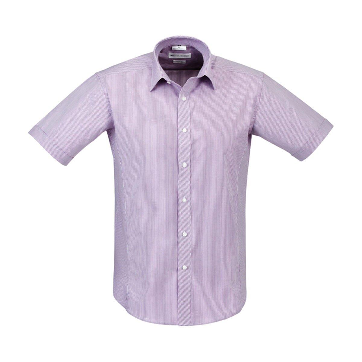 Mens Berlin Short Sleeve Shirt-Grape Stripe