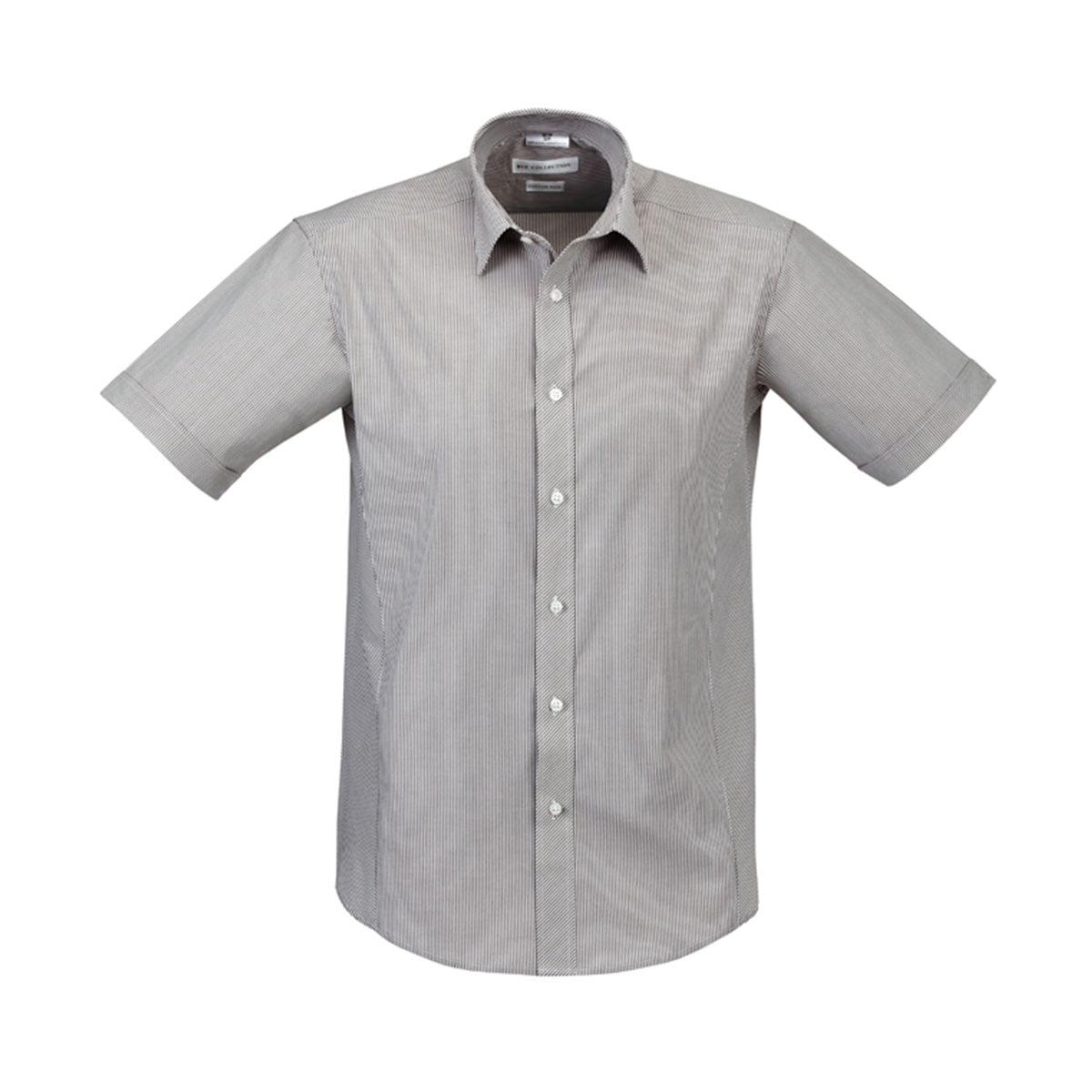 Mens Berlin Short Sleeve Shirt-Graphite Stripe