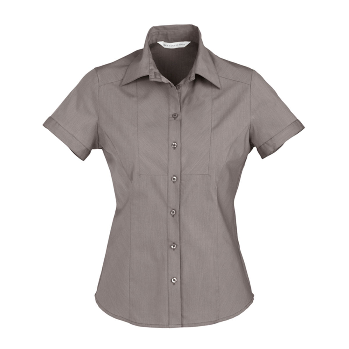 Ladies Chevron Short Sleeve Shirt-Graphite Stripe