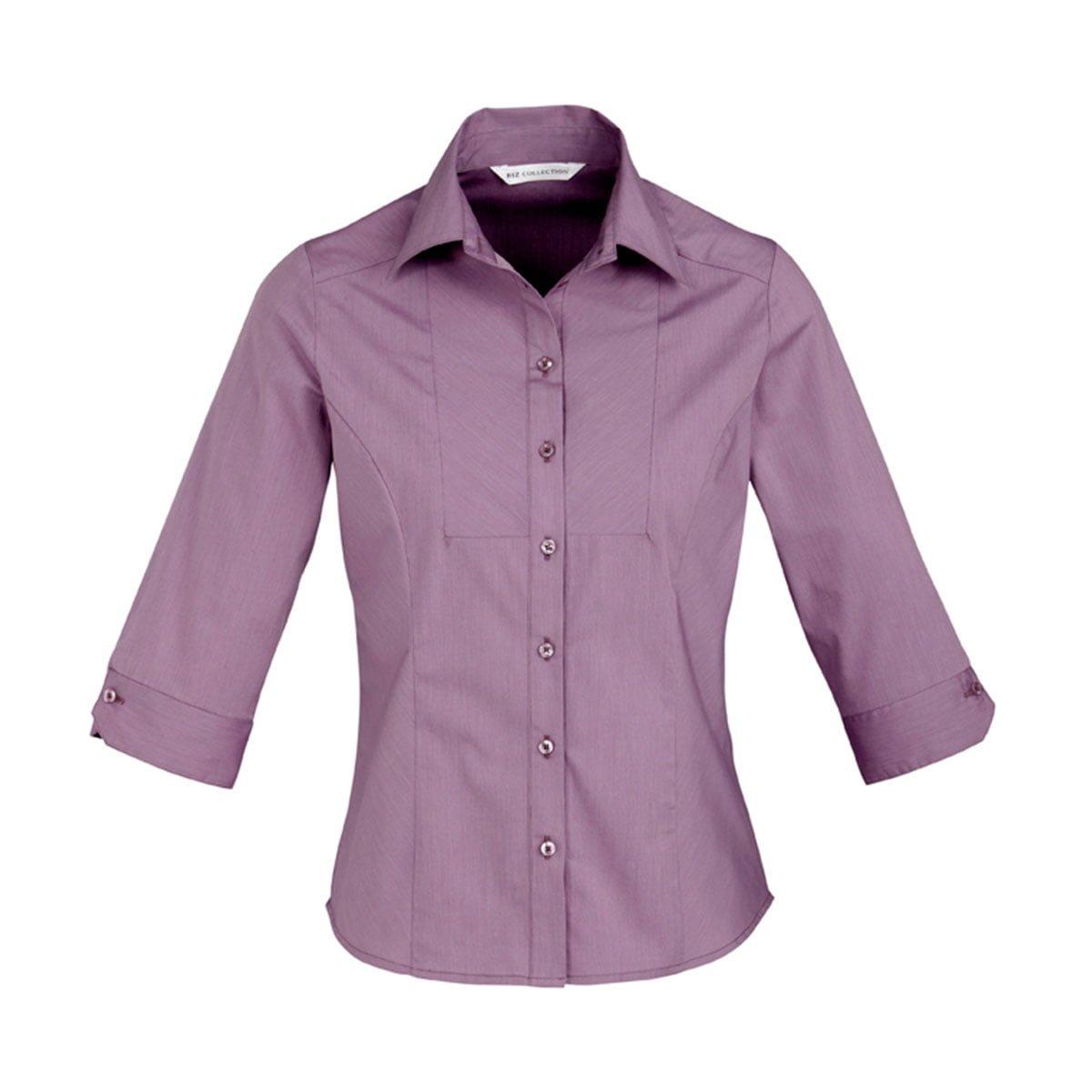 Ladies Chevron 3/4 Sleeve Shirt-Grape Stripe