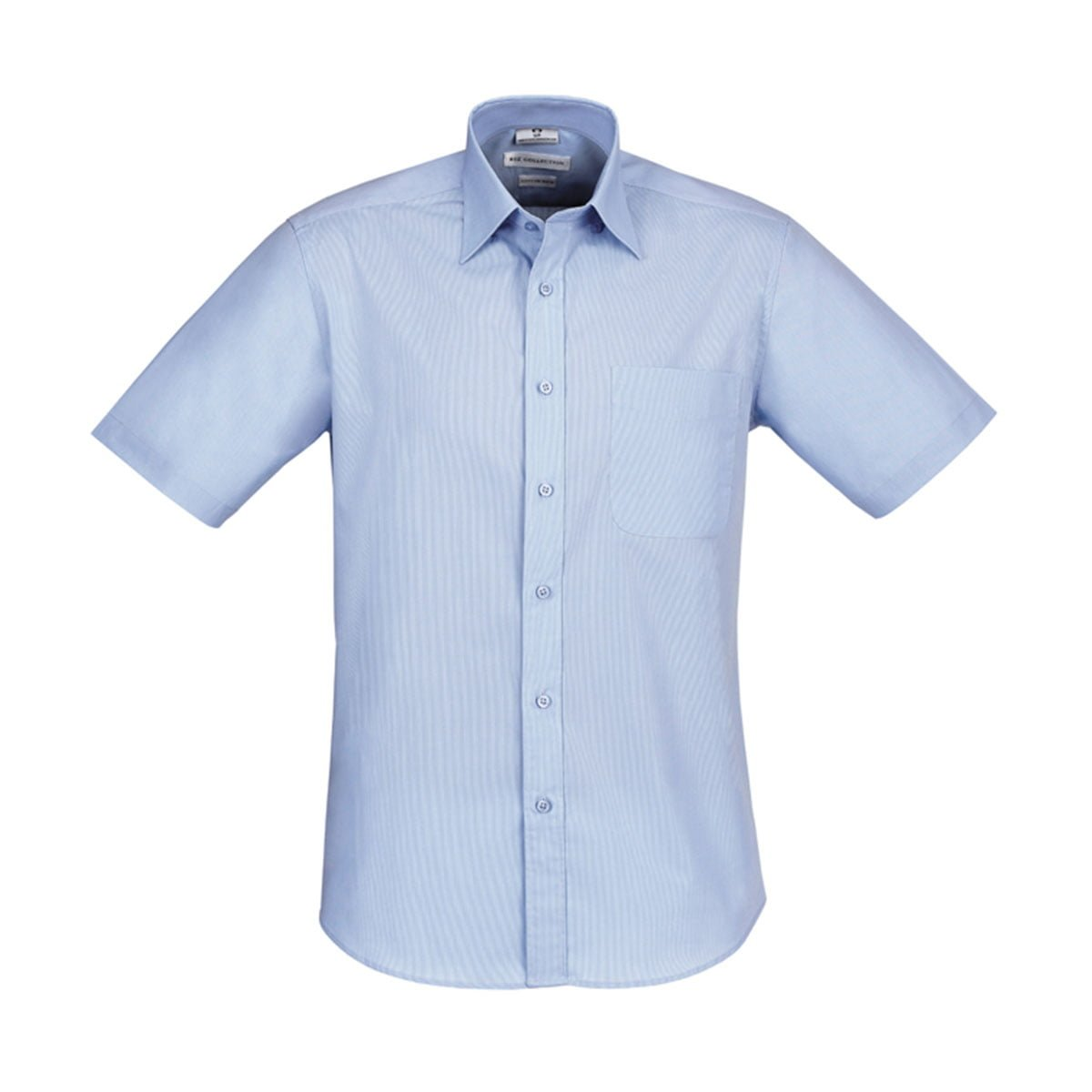 Mens Chevron Short Sleeve Shirt-Blue Stripe