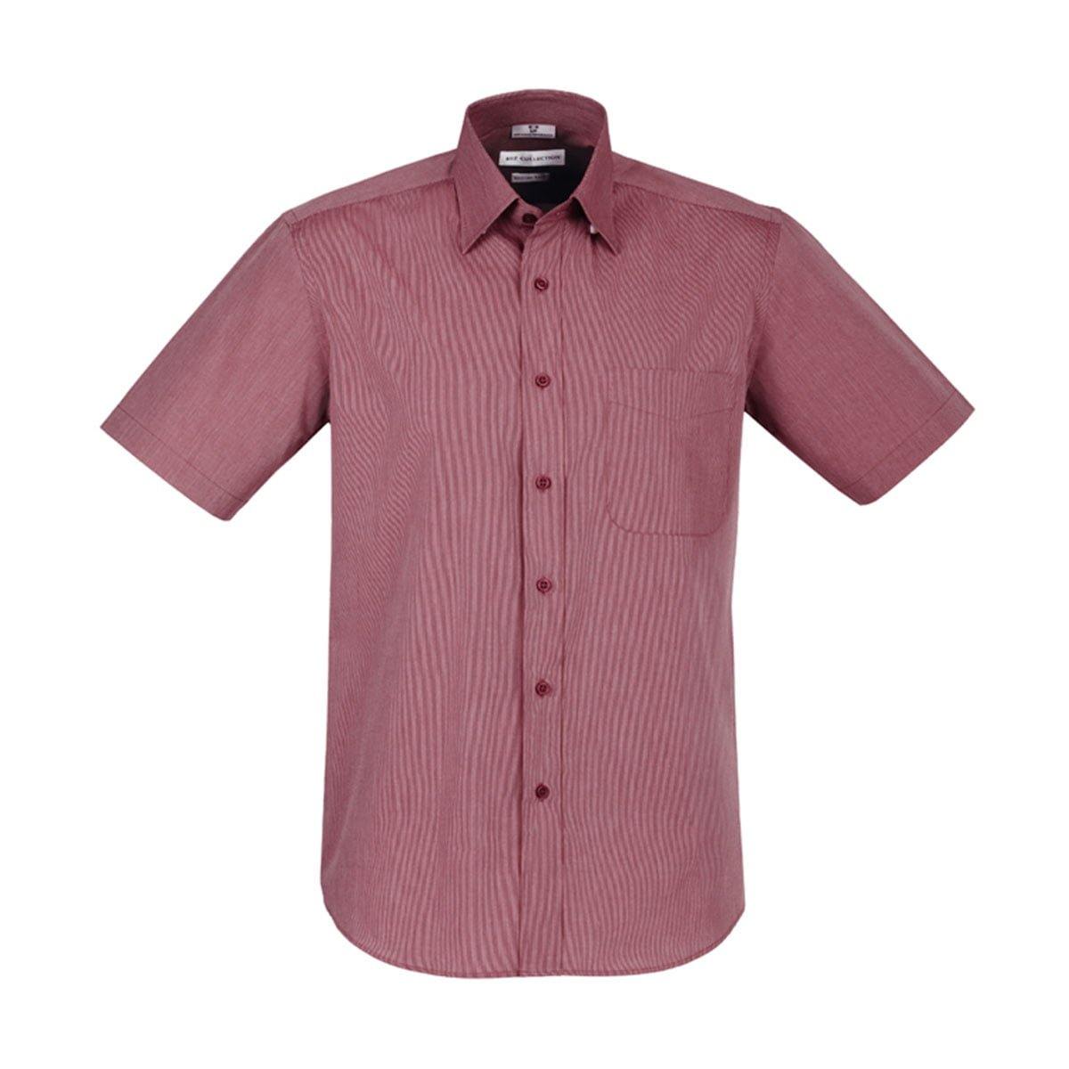 Mens Chevron Short Sleeve Shirt-Cherry