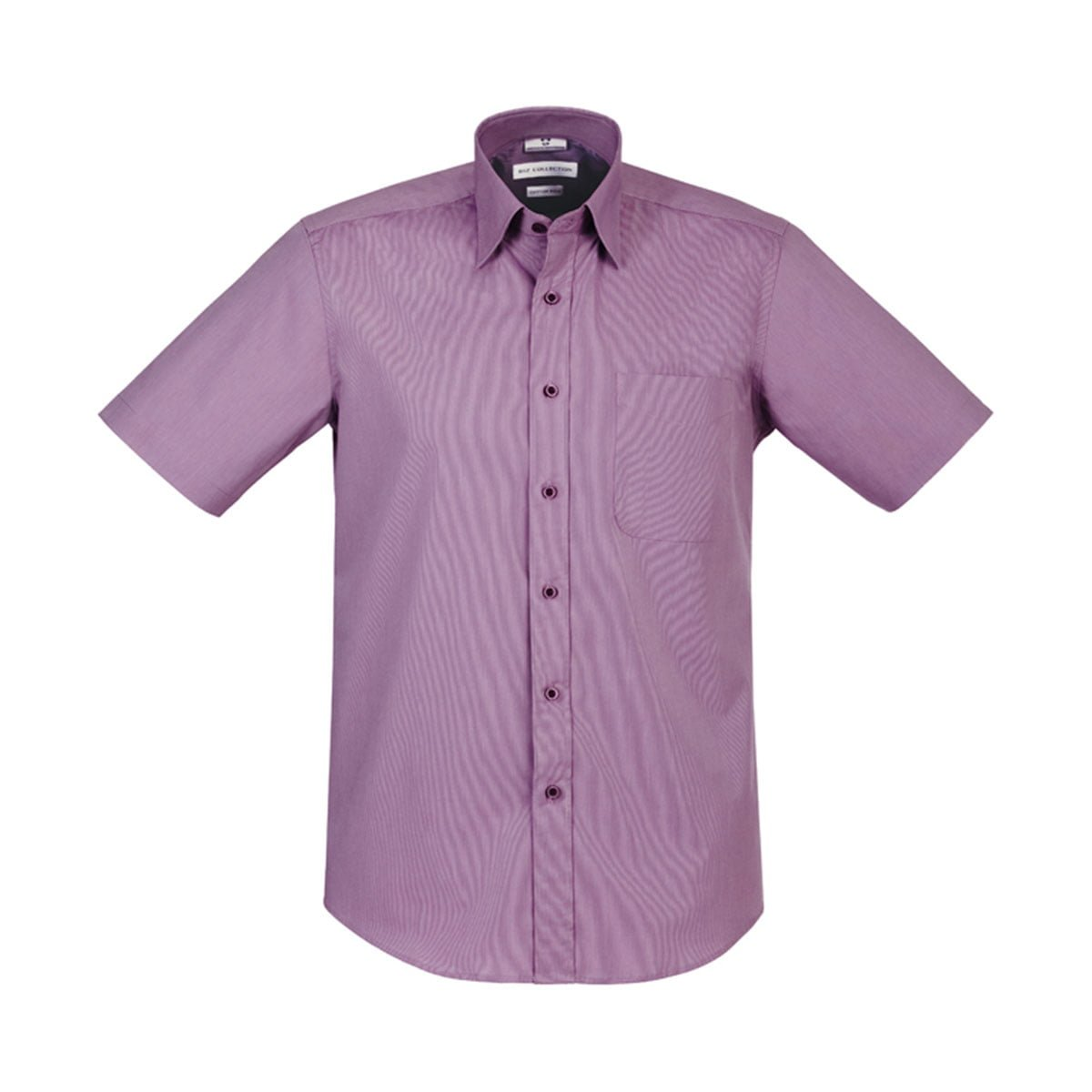Mens Chevron Short Sleeve Shirt-Grape Stripe