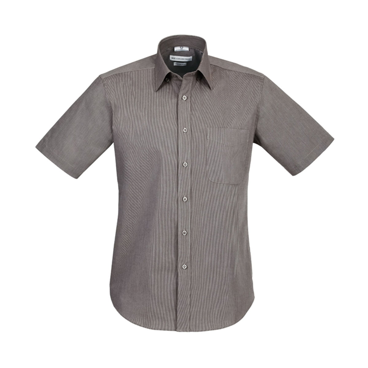 Mens Chevron Short Sleeve Shirt-Graphite Stripe