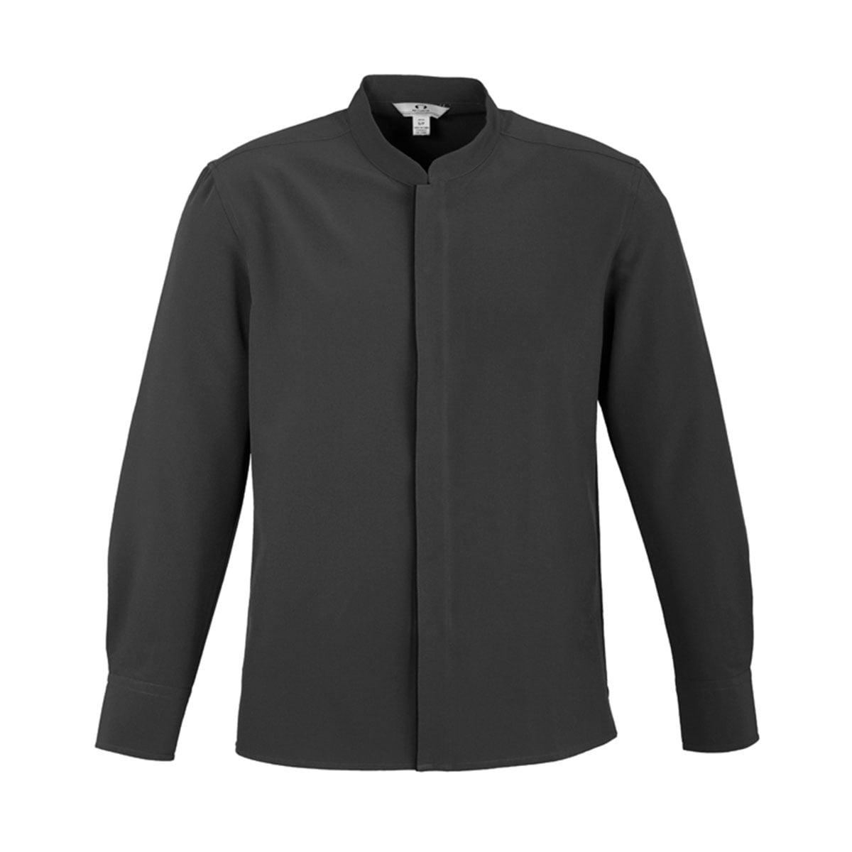 Mens Quay Long Sleeve Shirt-Charcoal / Black